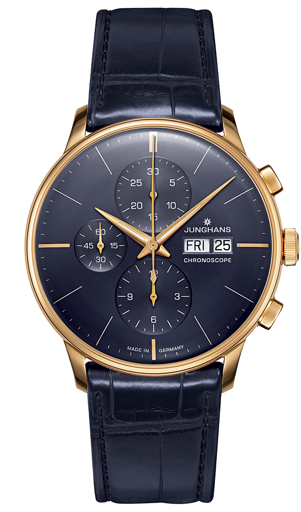 Junghans Meister Chronoscope PVD Gold case and Blue dial