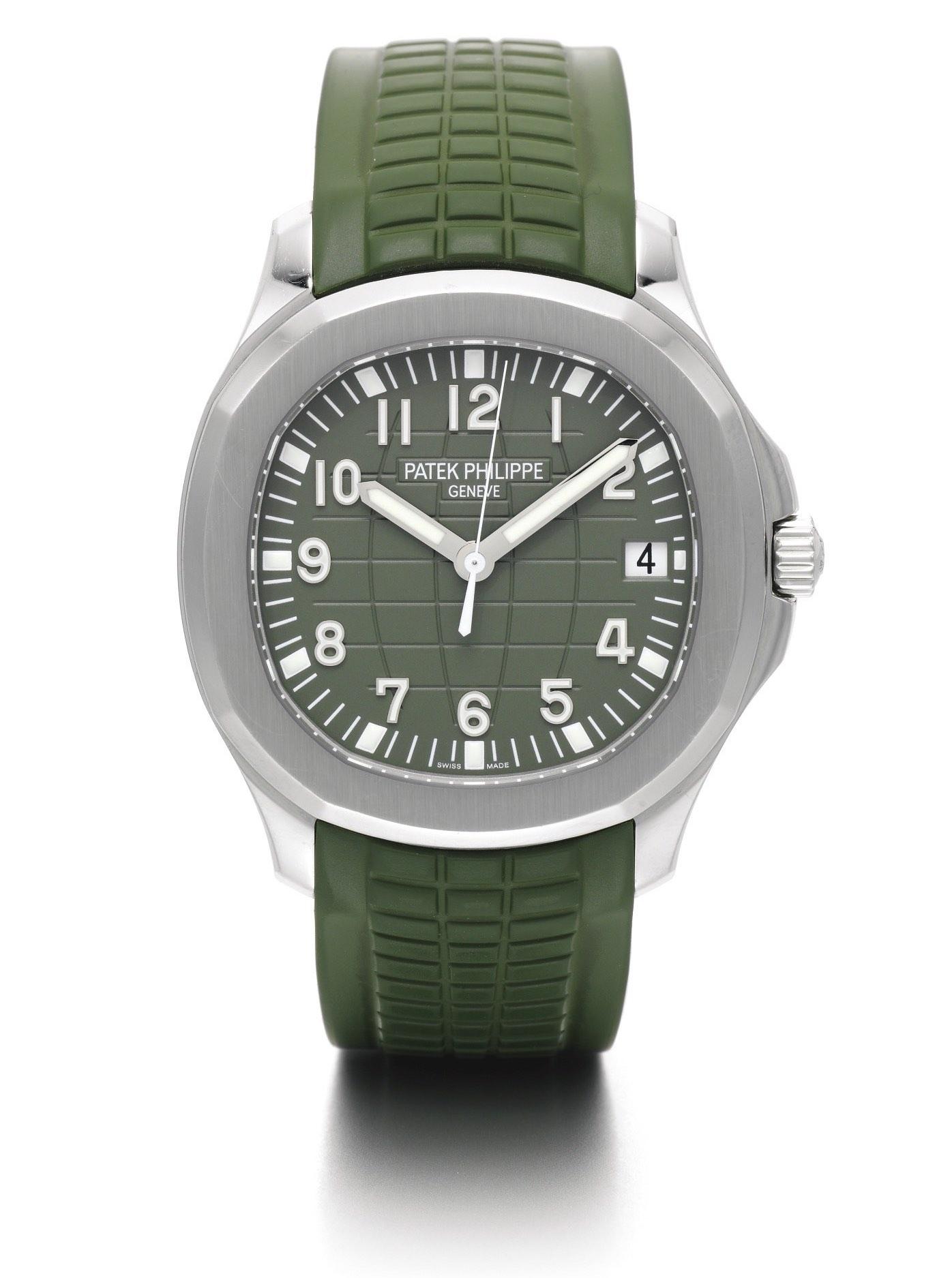 Patek Philippe Aquanaut 5167A-010 steel khaki green dial strap - photo by sothebys