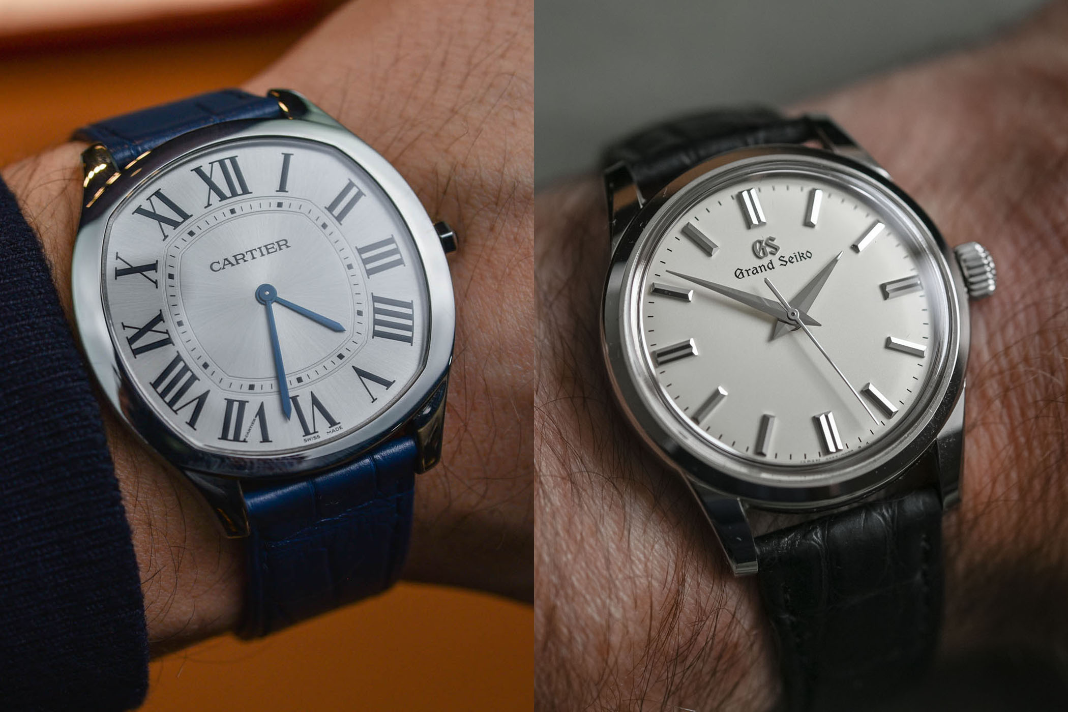 The battle of Elegant Time-Only Watches Verdict – Drive de Cartier Extra-Flat vs. Grand Seiko SBWG231