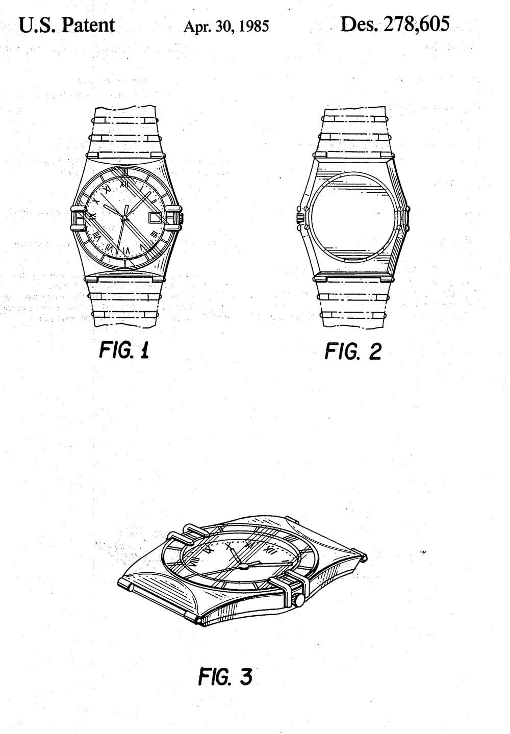 1985 US patent design Omega Constellation Manhattan
