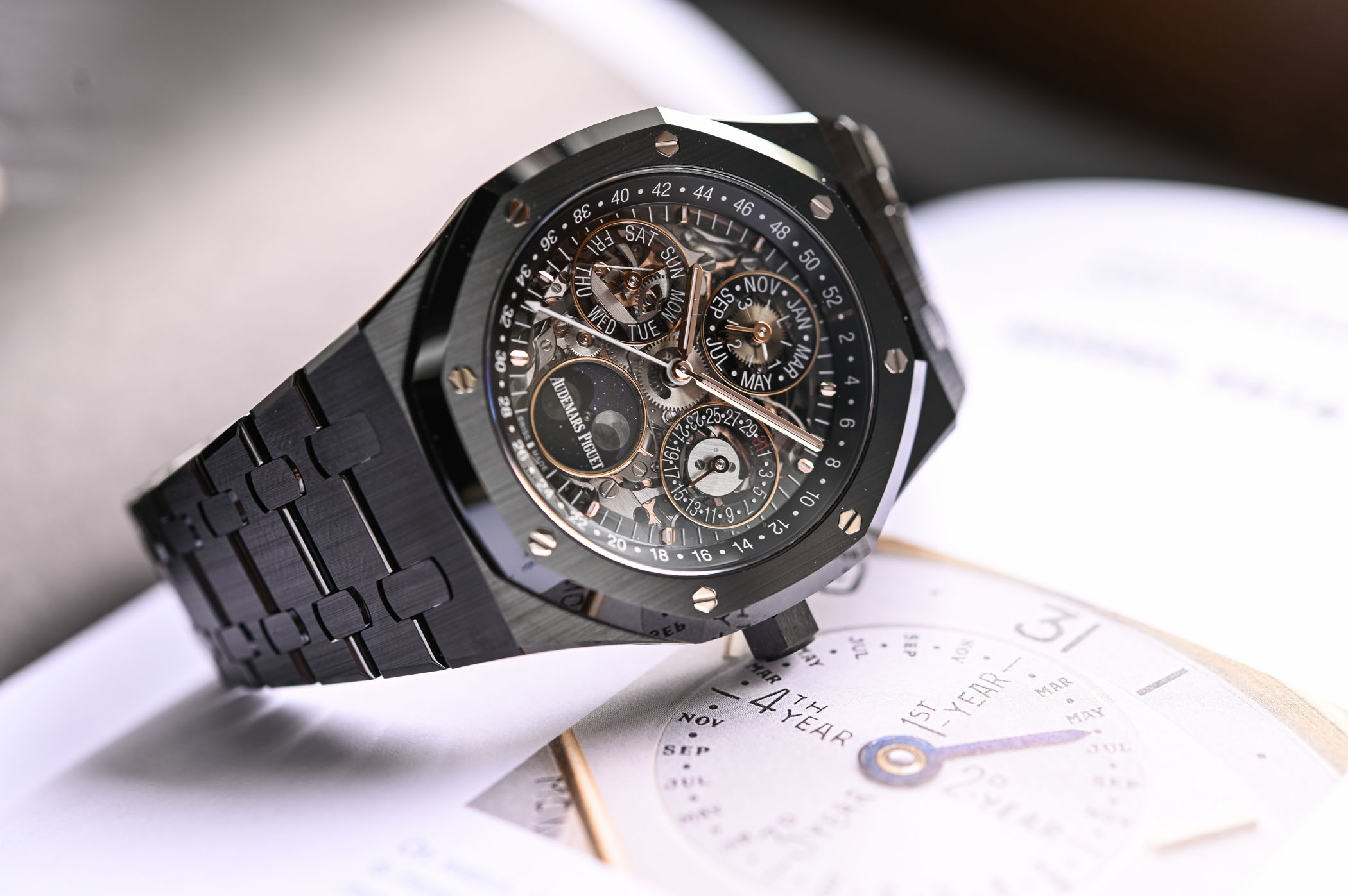 Audemars Piguet Royal Oak Perpetual Calendar Openworked Black Ceramic - 26585CE.OO.1225CE.01