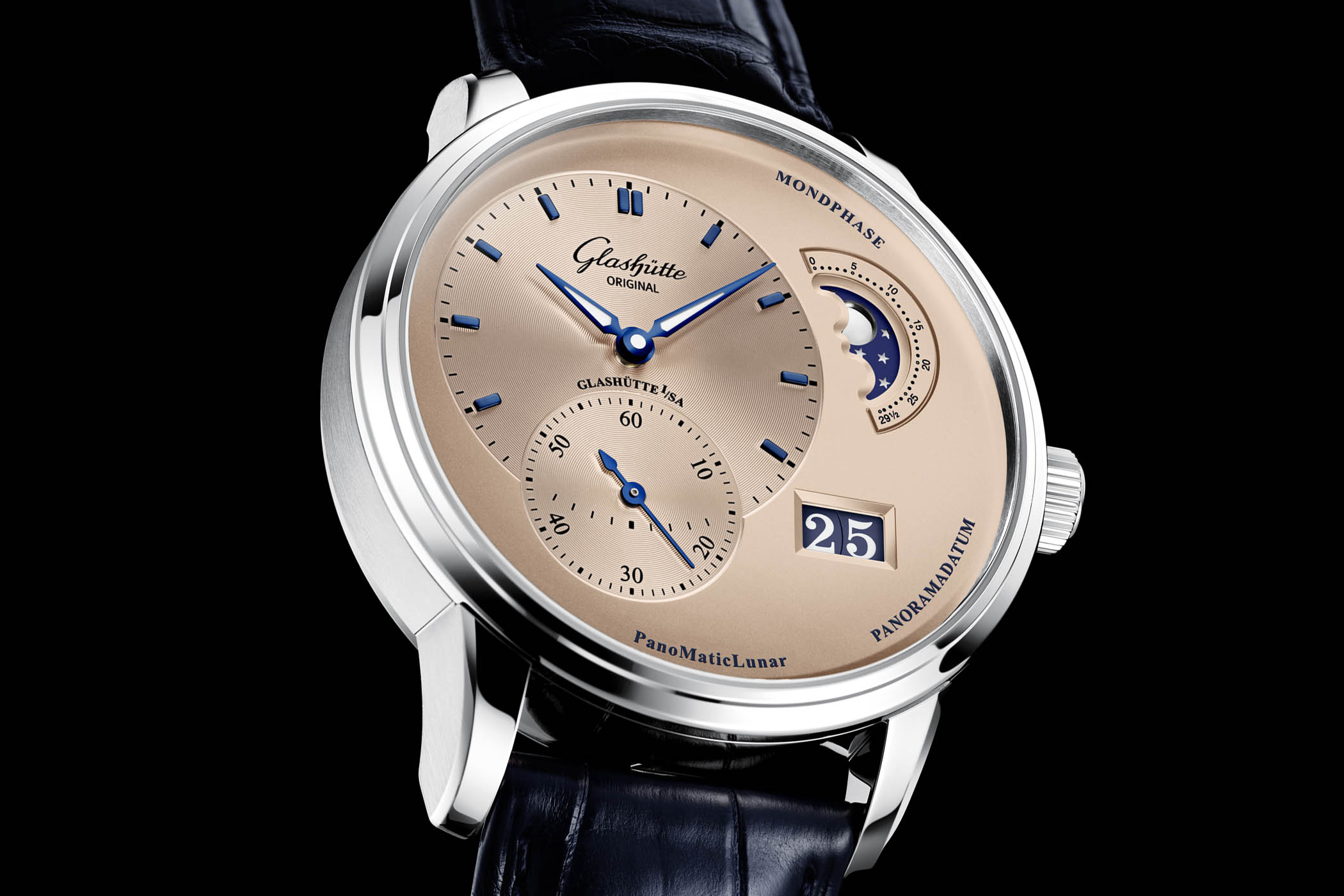 Glashutte Original PanoMaticLunar Salmon Rose Opaline Dial Steel case Limited Edition