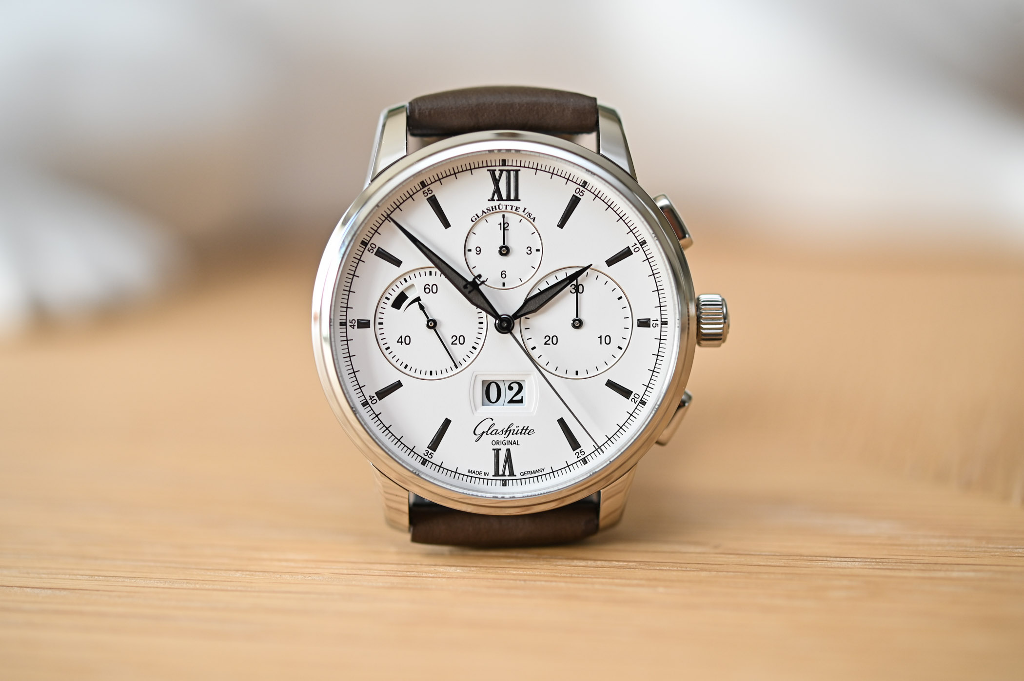 Glashutte Original Senator Chronograph Panorama Date Steel White Dial