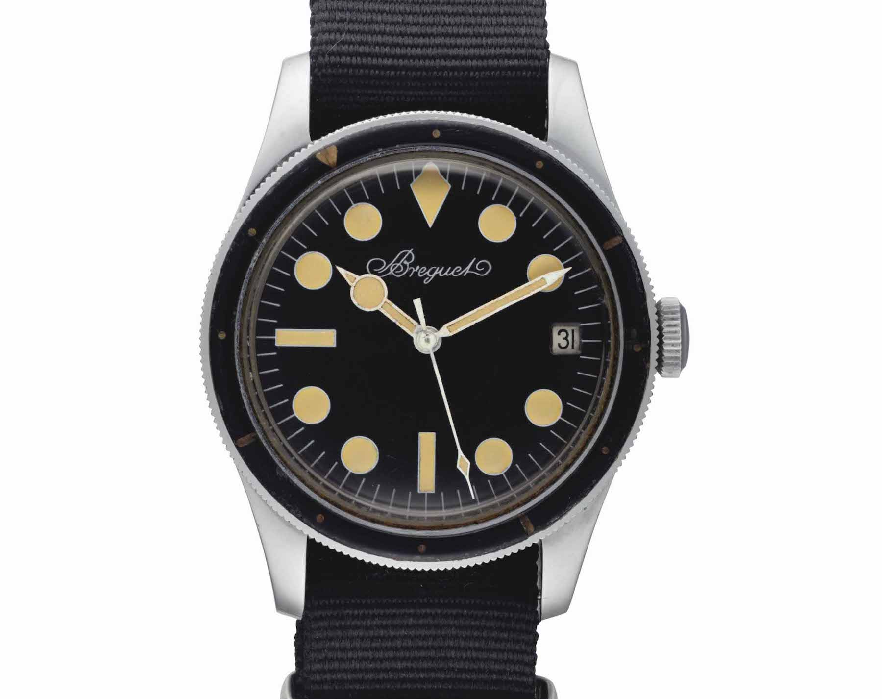 An example of this rare Breguet Diver, as worn by Dan Gurney in 1965 - Image by Christie's