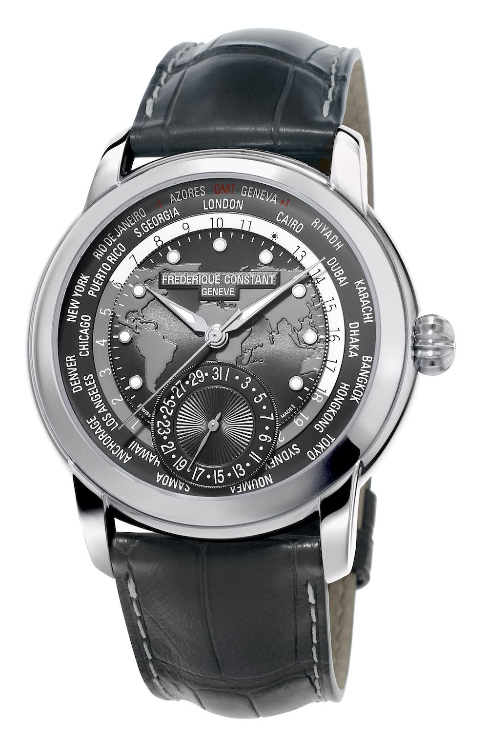 Frederique Constant Classic Worldtimer Manufacture with Grey Dial