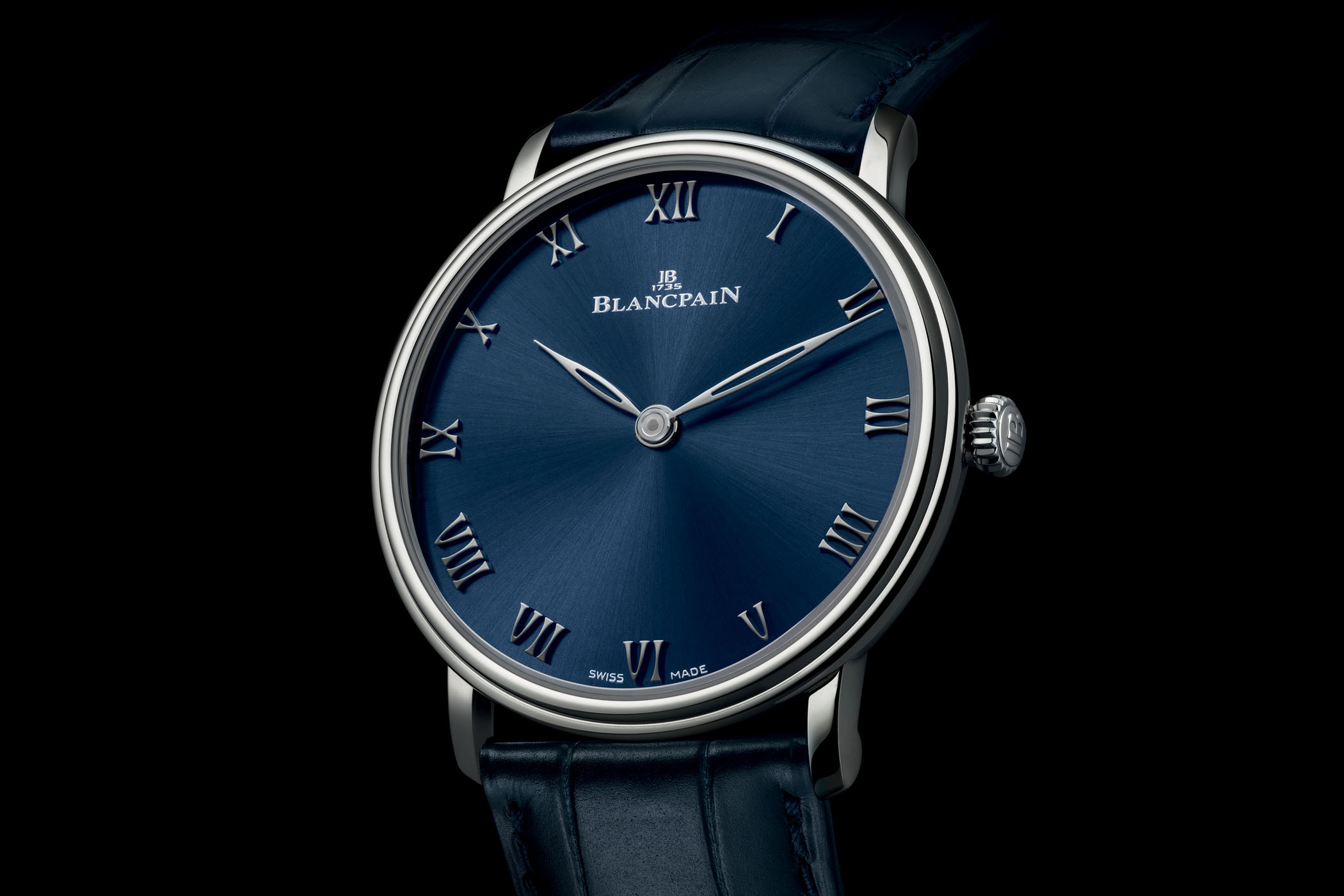 Blancpain Villeret Ultraplate Platinum Blue Dial Boutique Exclusive 6605-3440-55A