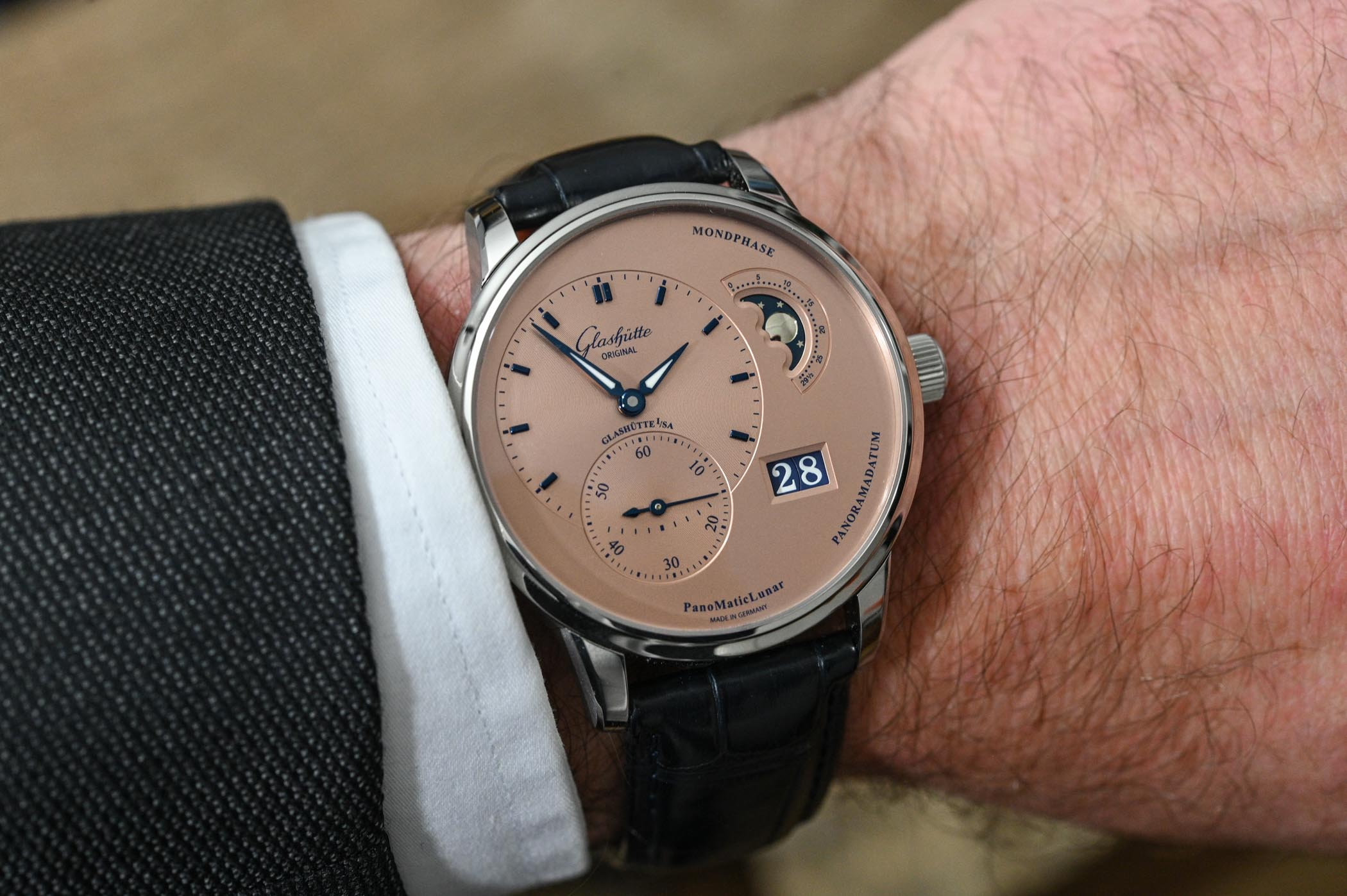 Glashutte Original PanoMaticLunar Rose Opaline Salmon Steel