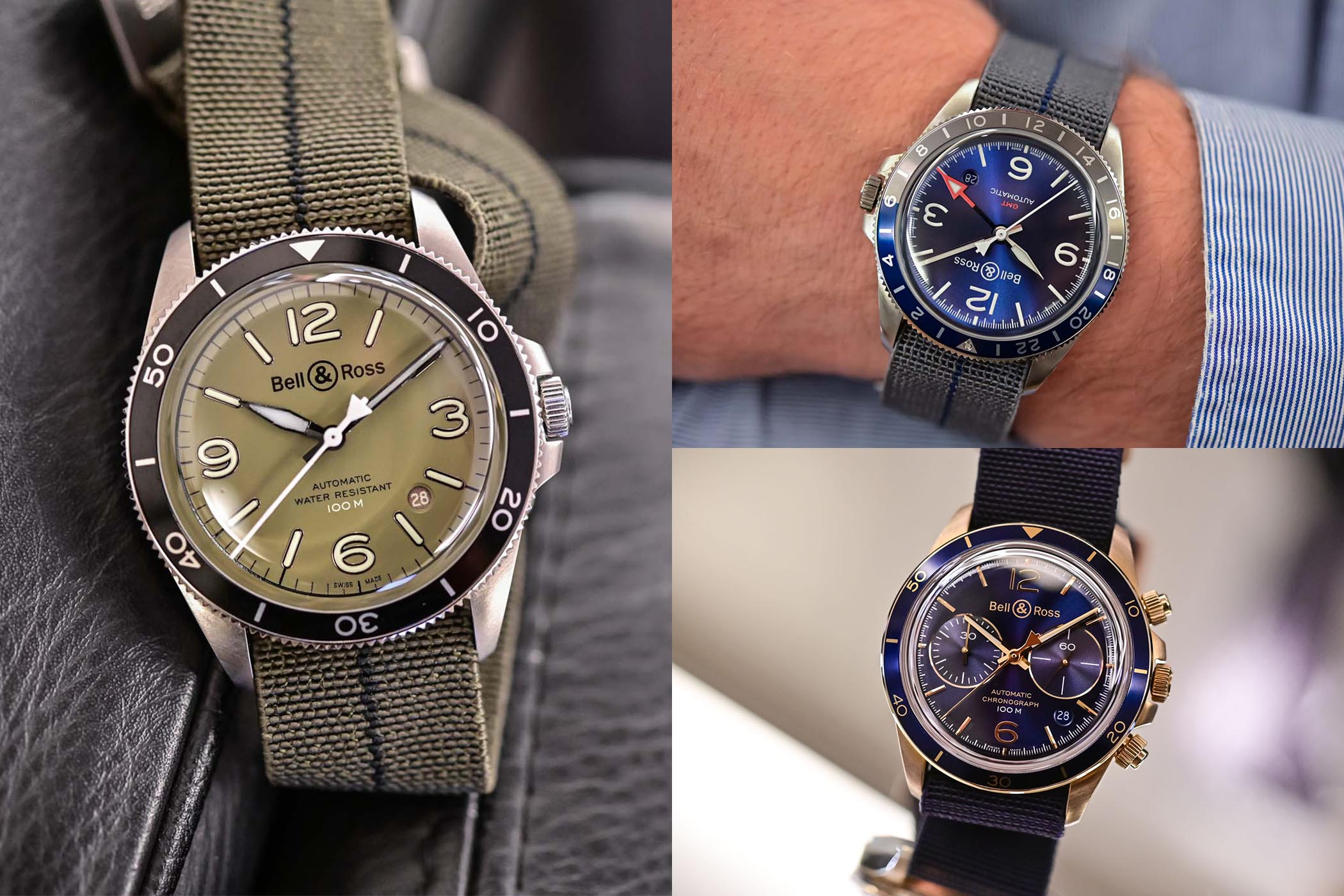 Bell & Ross new 2020 vintage collection - BR V2-92 Military Green - BR V2-93 GMT Blue - BR V2-94 Aeronavale Bronze