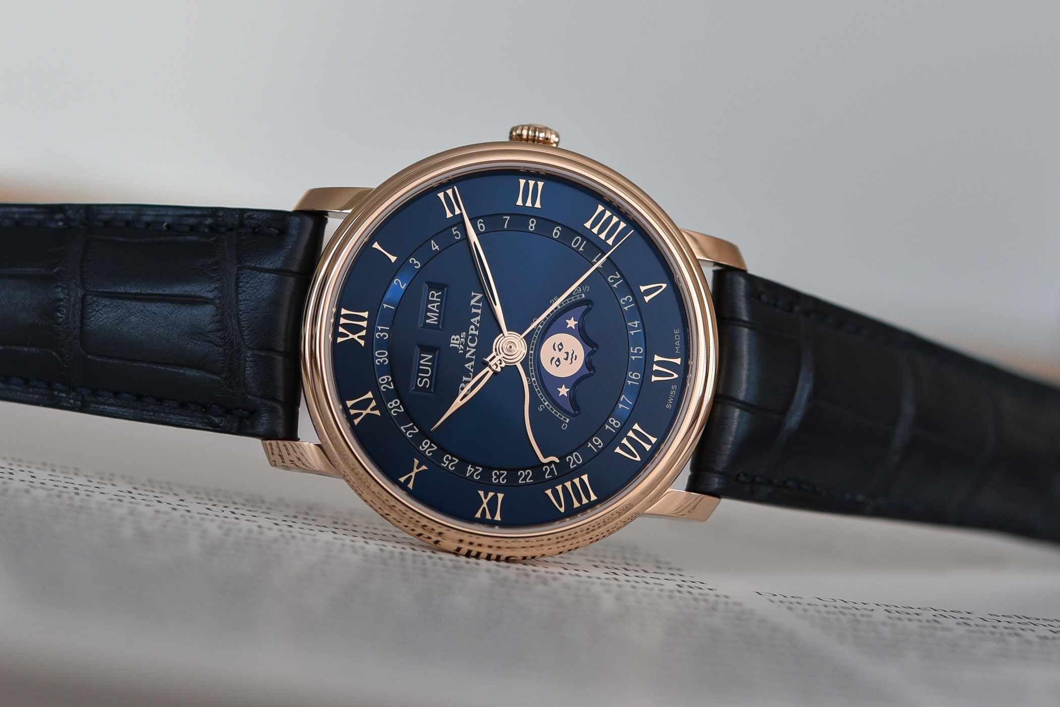 Blancpain Villeret Quantieme Complet Blue Dial Red Gold 6654 3640 55B - Complete Calendar