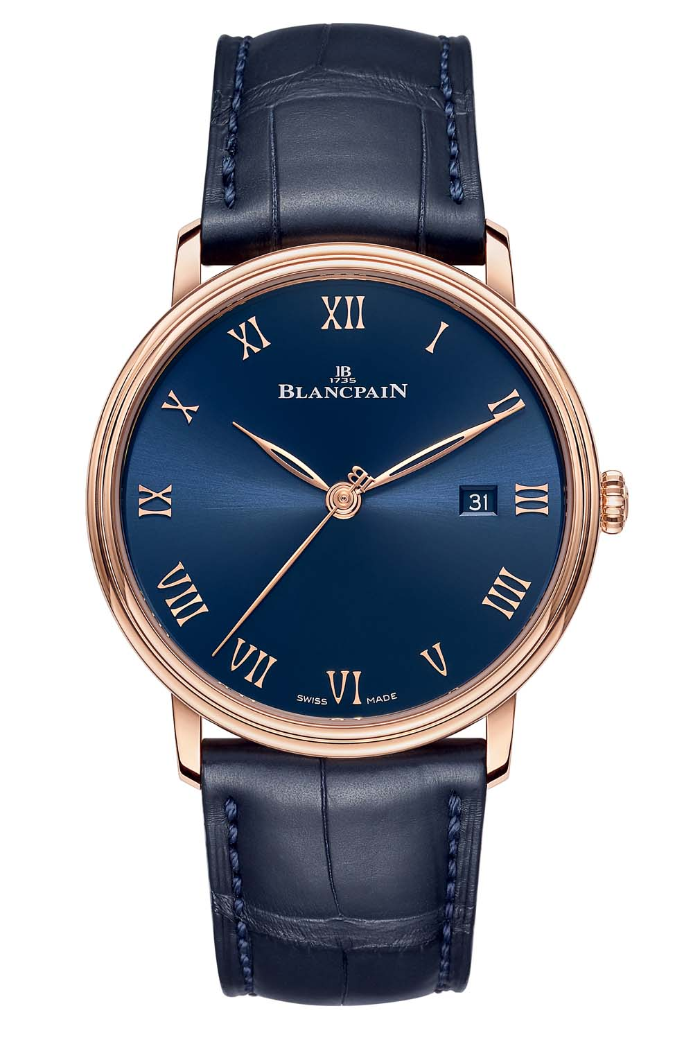 Blancpain Villeret Ultraplate 6651 Red Gold Blue Dial