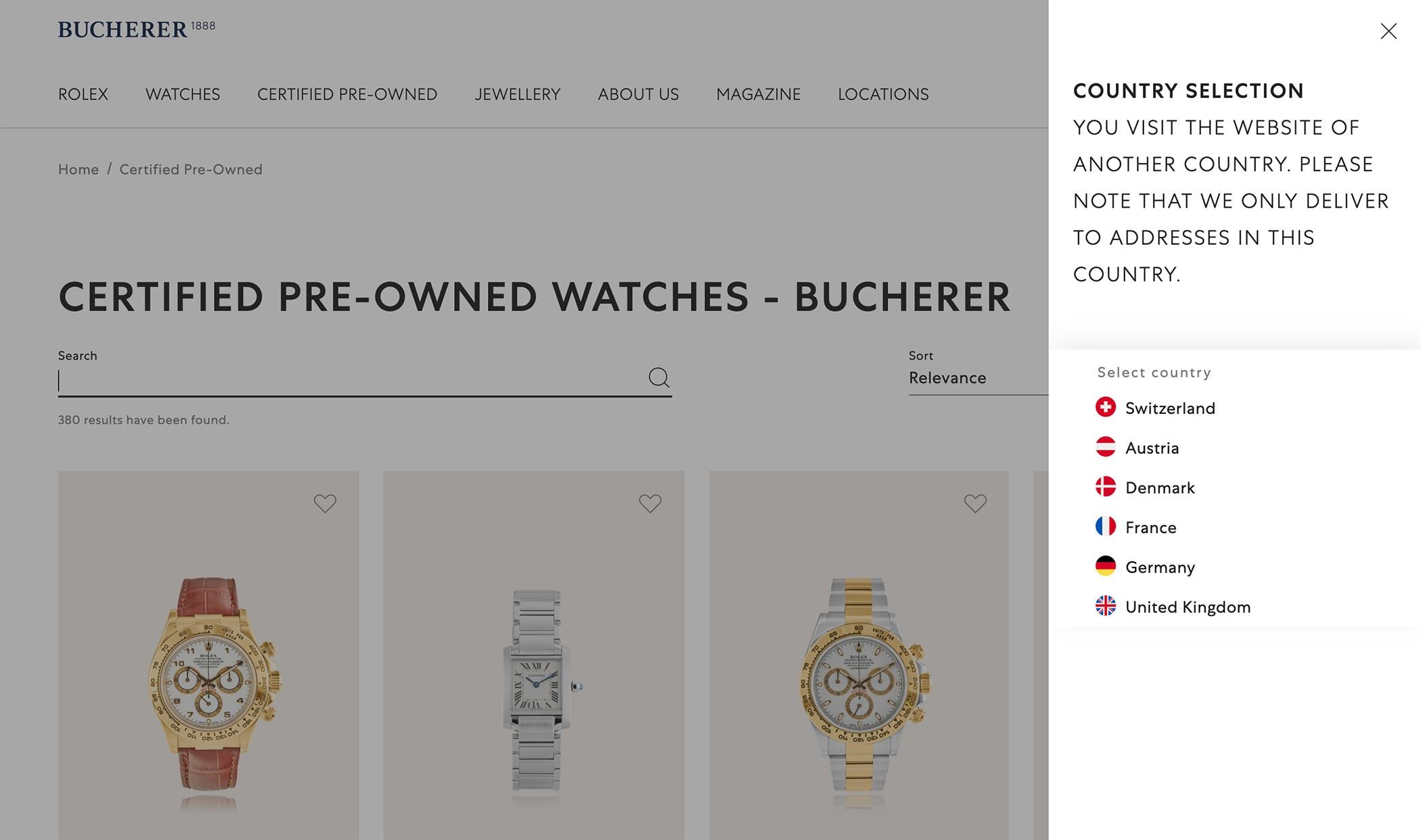 Bucherer-online-countries