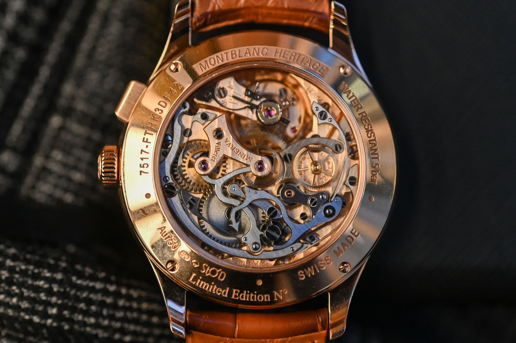 Montblanc Heritage Manufacture Pulsograph Rose Gold Brown Dial 126095 Minerva Movement