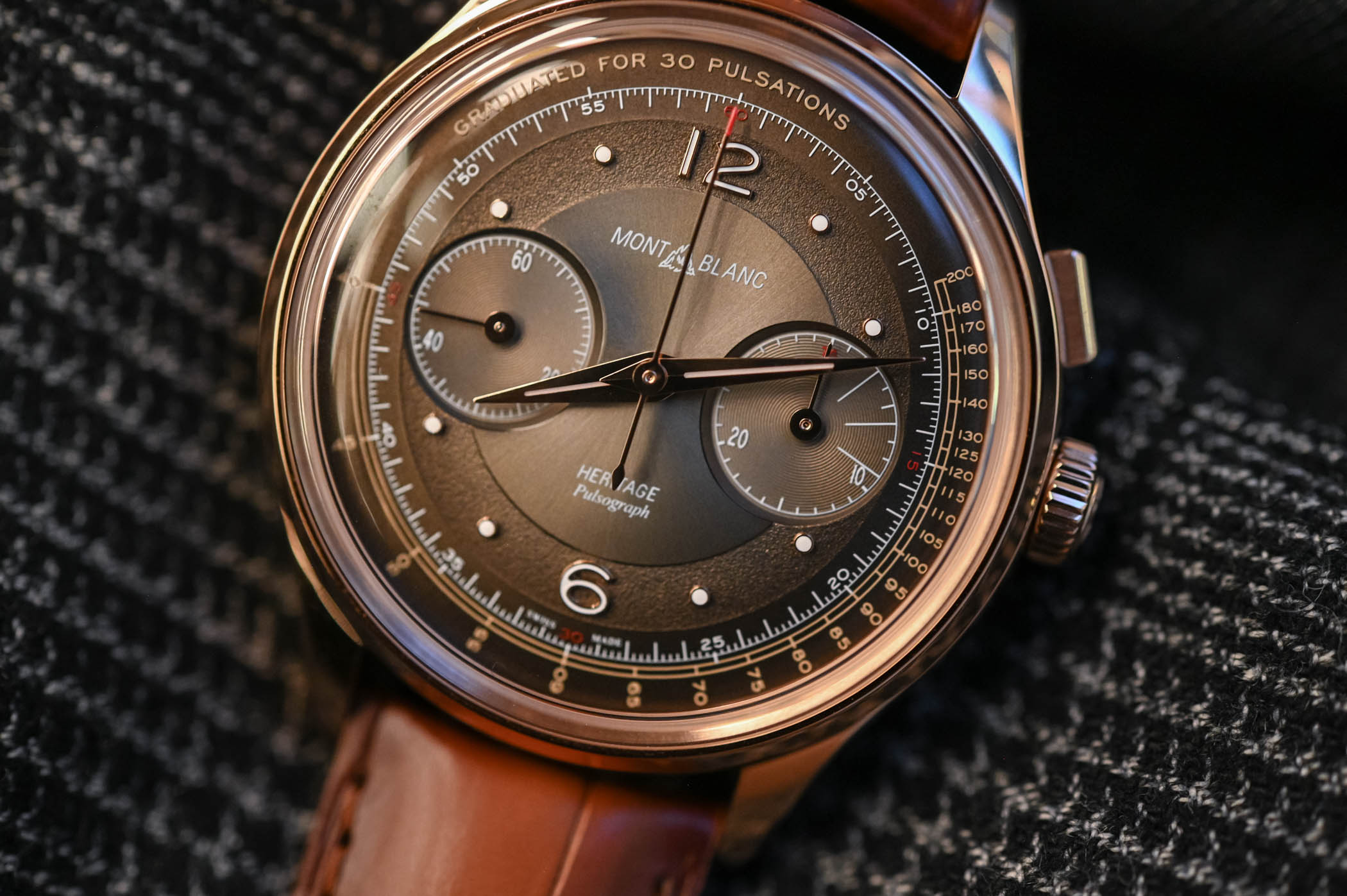 Montblanc Heritage Manufacture Pulsograph Rose Gold Brown Dial 126095