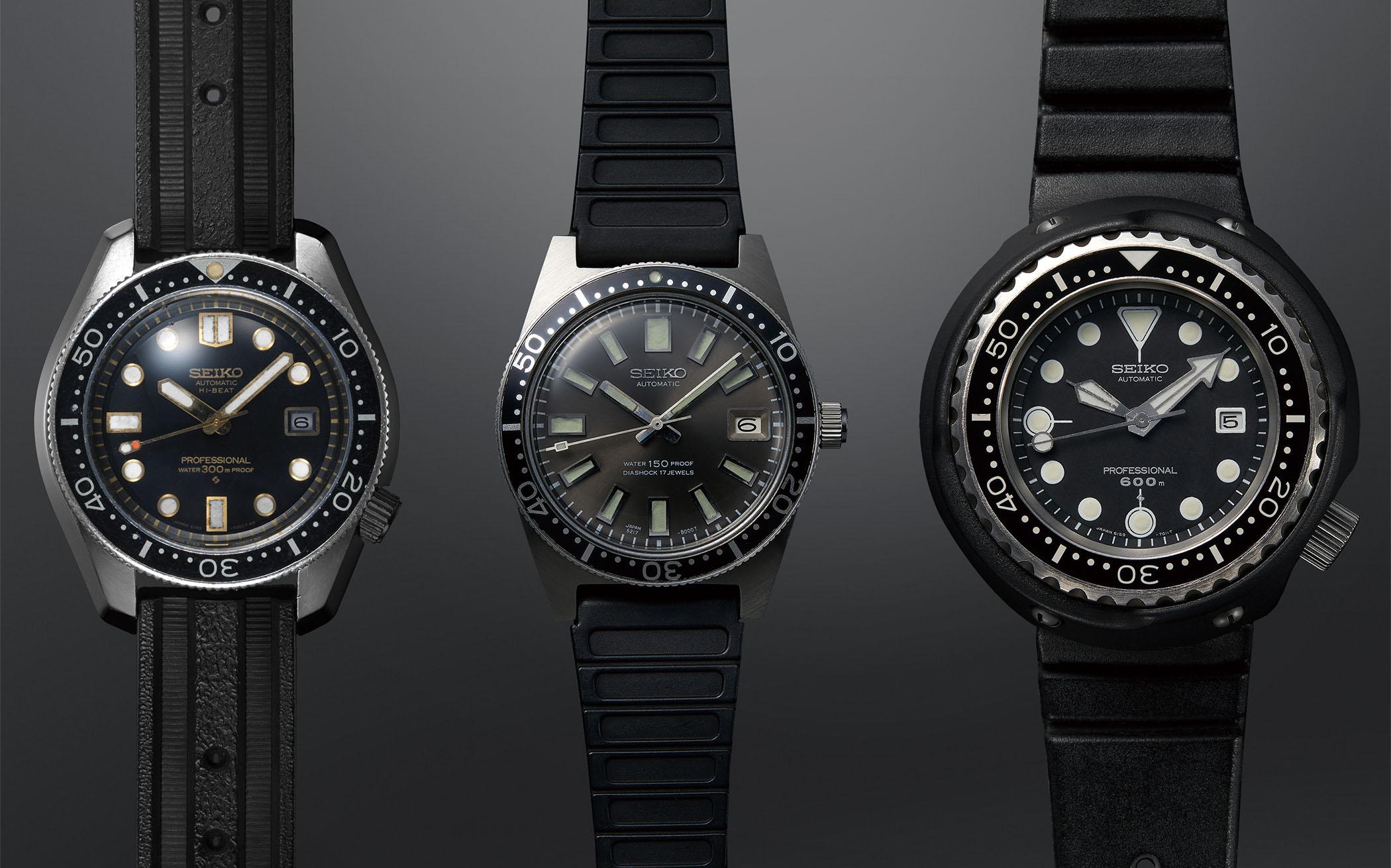Vintage Seiko Dive Watches - 1968 Hi-beat Diver 300m - 1965 62MAS 150m - 1975 Professional Diver 600m