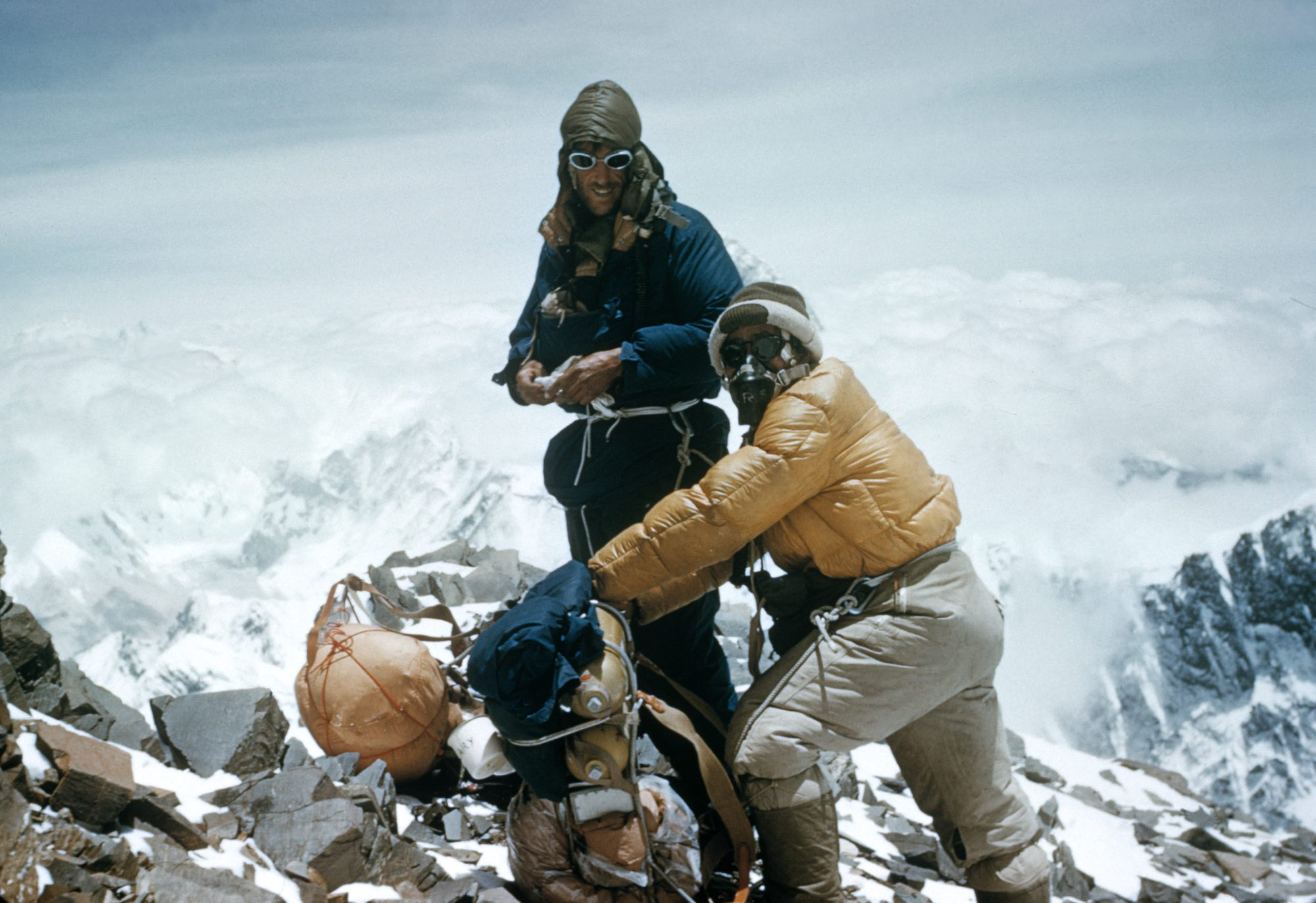 Sir Edmund Hillary and TenzingNorgay climbing Mount Everestin 1953
