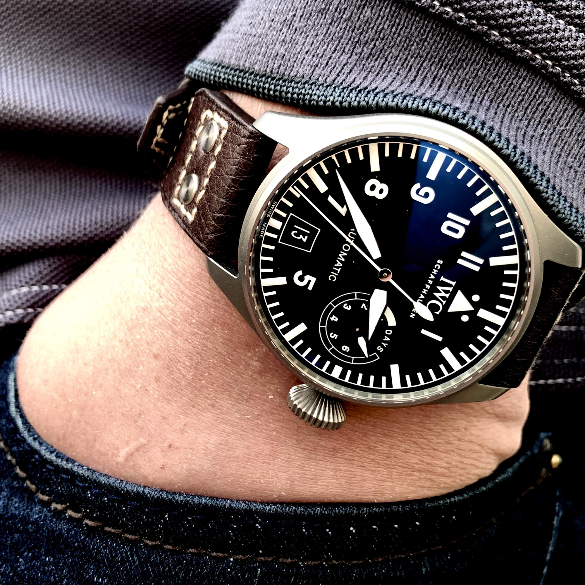 IWC Big Pilot Safari on the wrist of @winewhiskeywatches