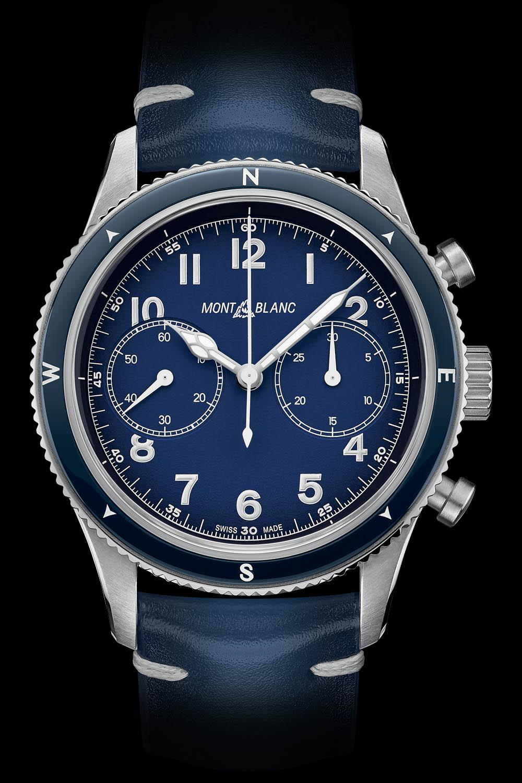 Montblanc 1858 Automatic Chronograph Blue Compass Bezel