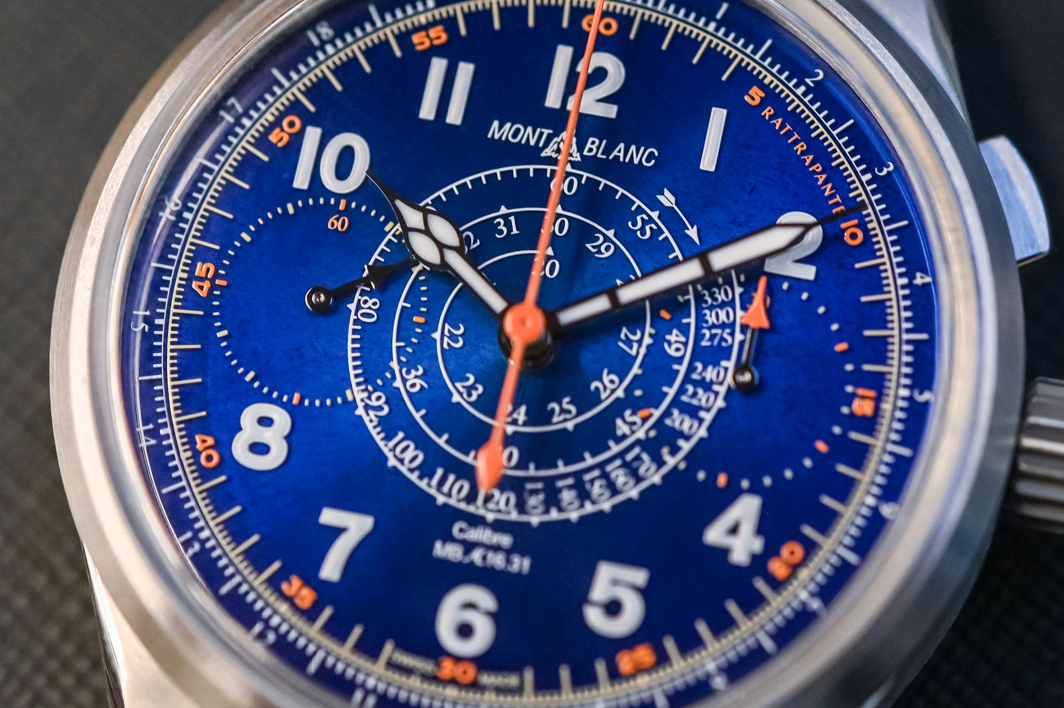 Montblanc 1858 Split Second Chronograph Limited Edition 100 Titanium Blue Enamel