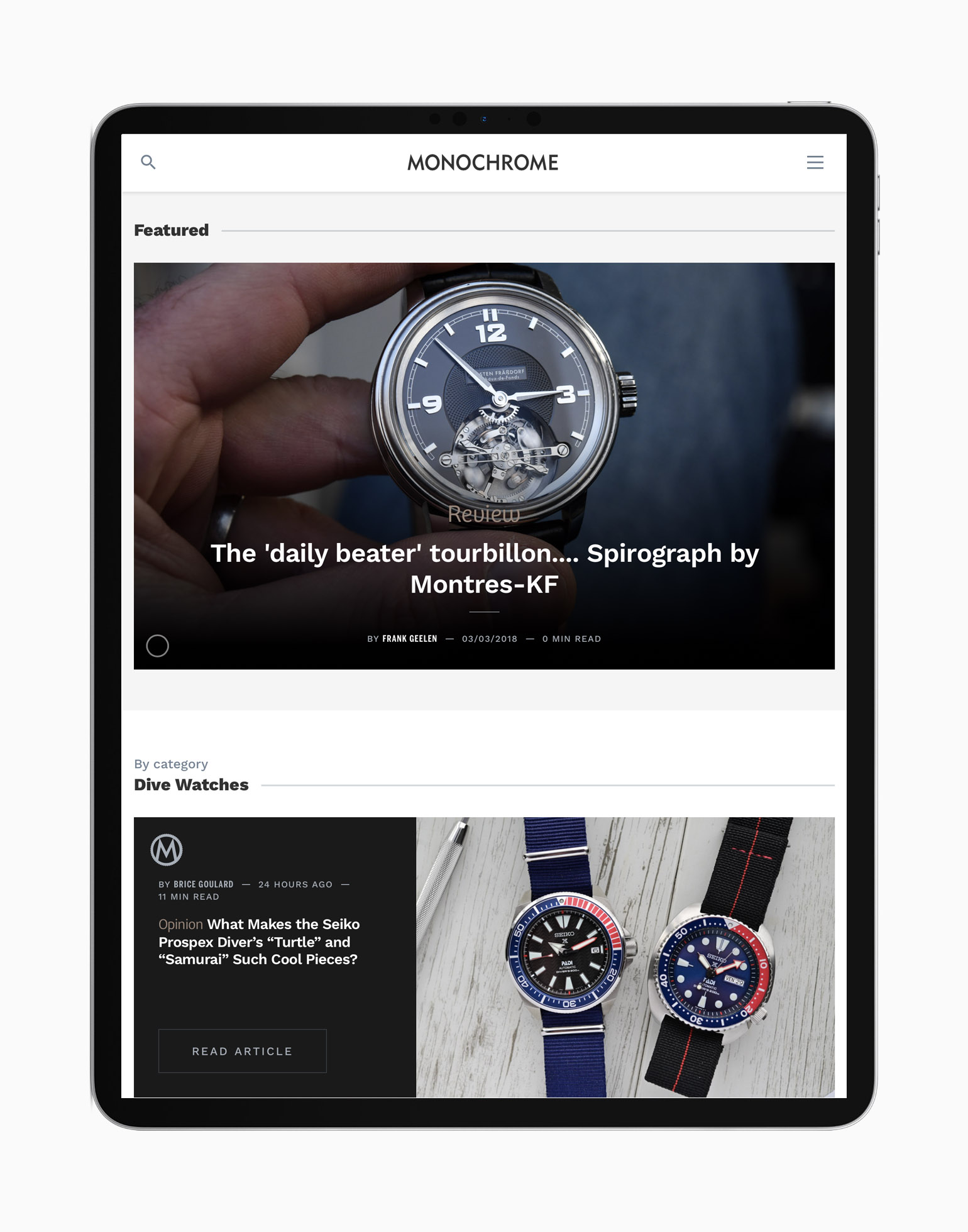 New website 2020 MONOCHROME WATCHES - Ipad 2
