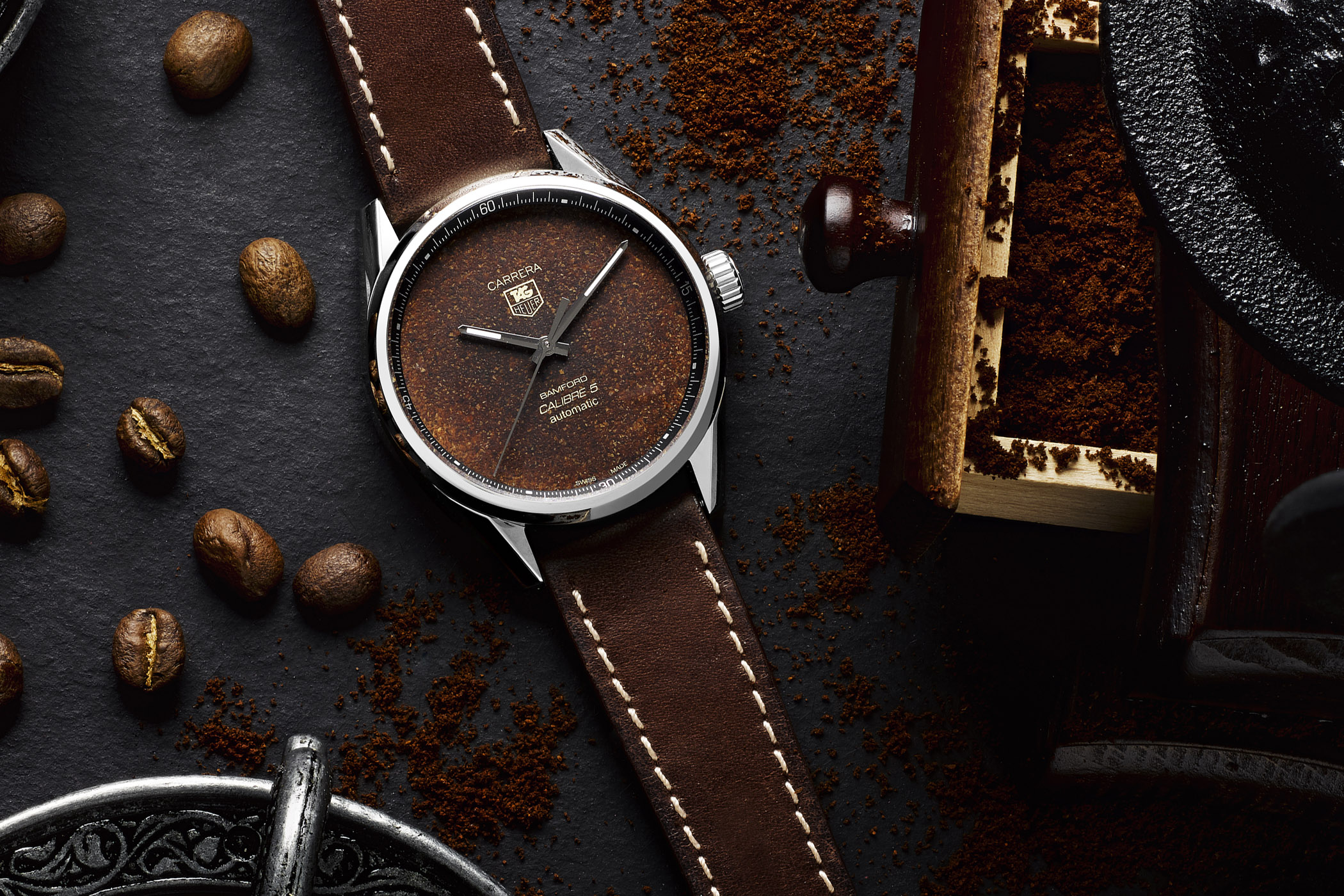 Bamford x Badgerworks TAG Heuer Carrera Calibre 5 Tropical Coffee Dial