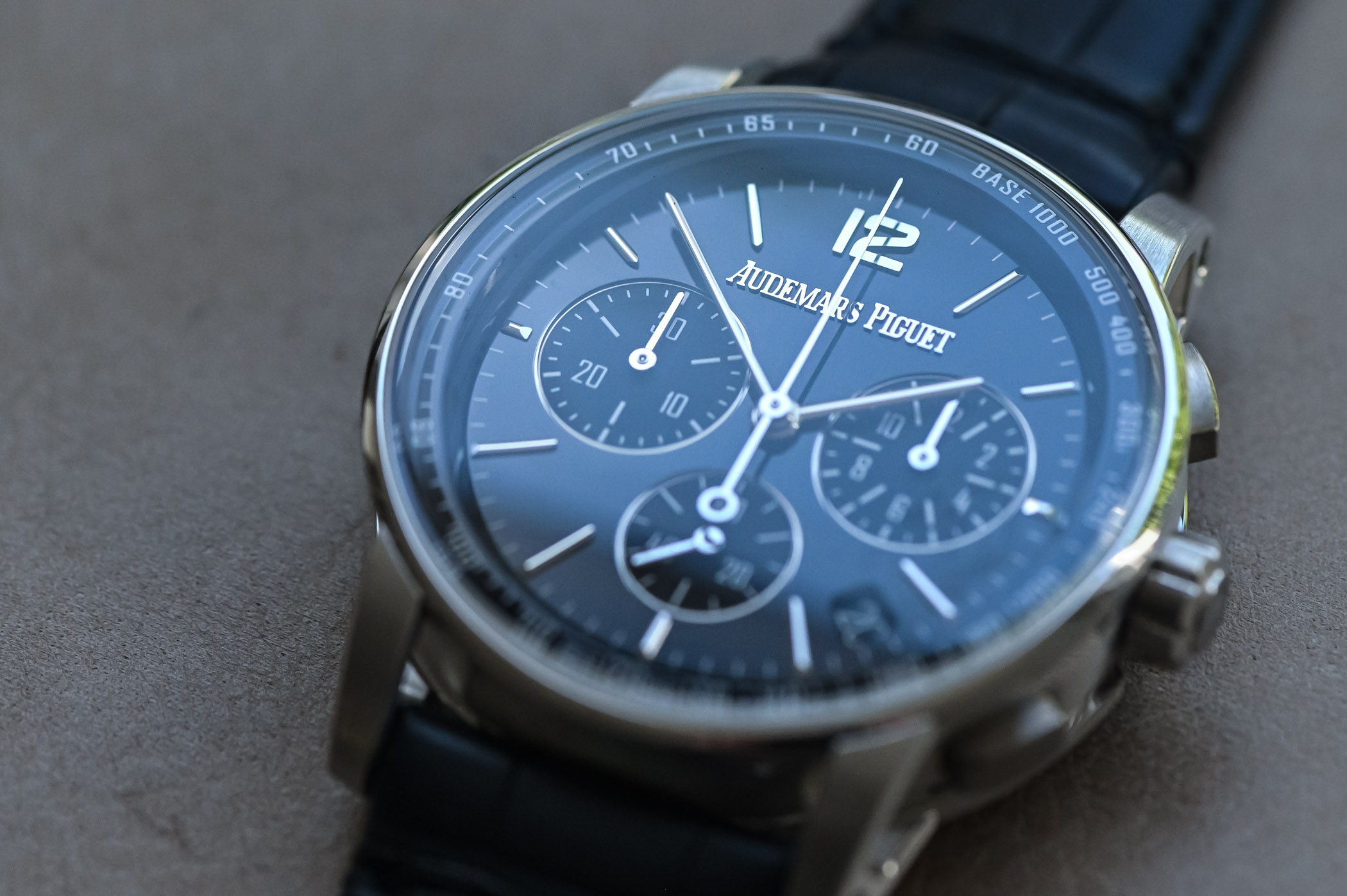 Code 11.59 by Audemars Piguet Selfwinding Chronograph Review - lacquered blue dial