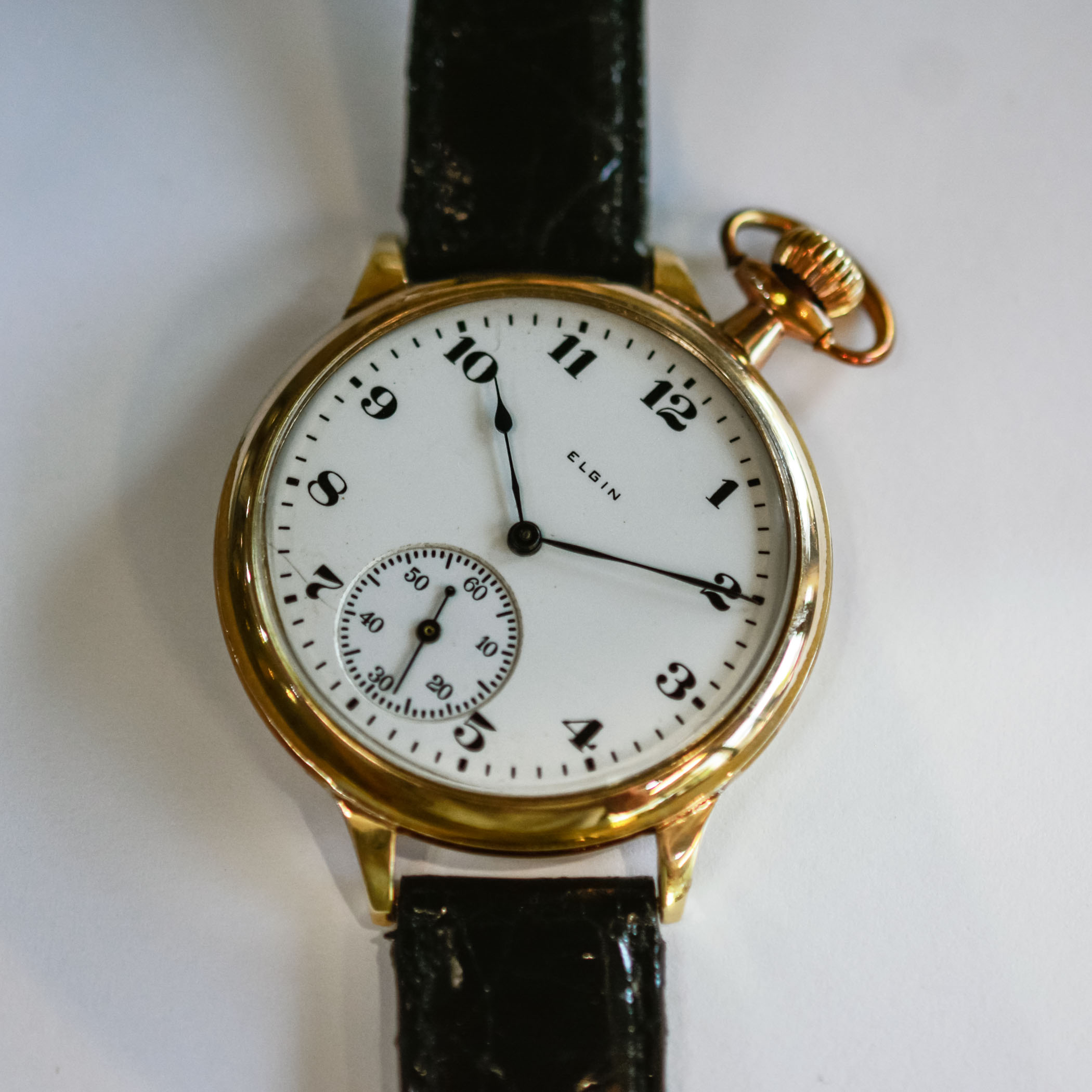 Elgin pocket watch conversion from 1912 with welded lugs