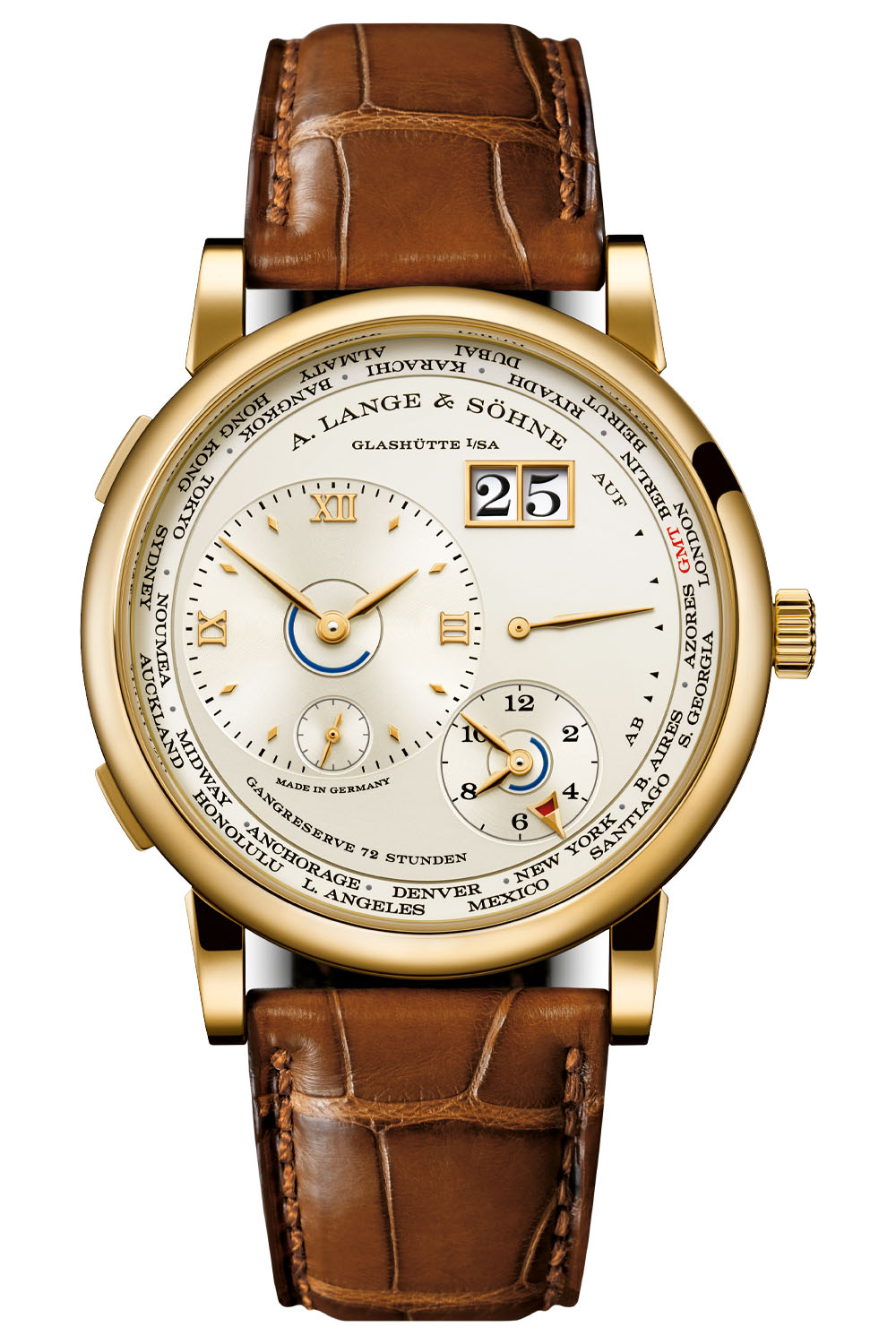 2020 A Lange Sohne Lange 1 Time Zone Yellow Gold champagne dial Limited 136.021
