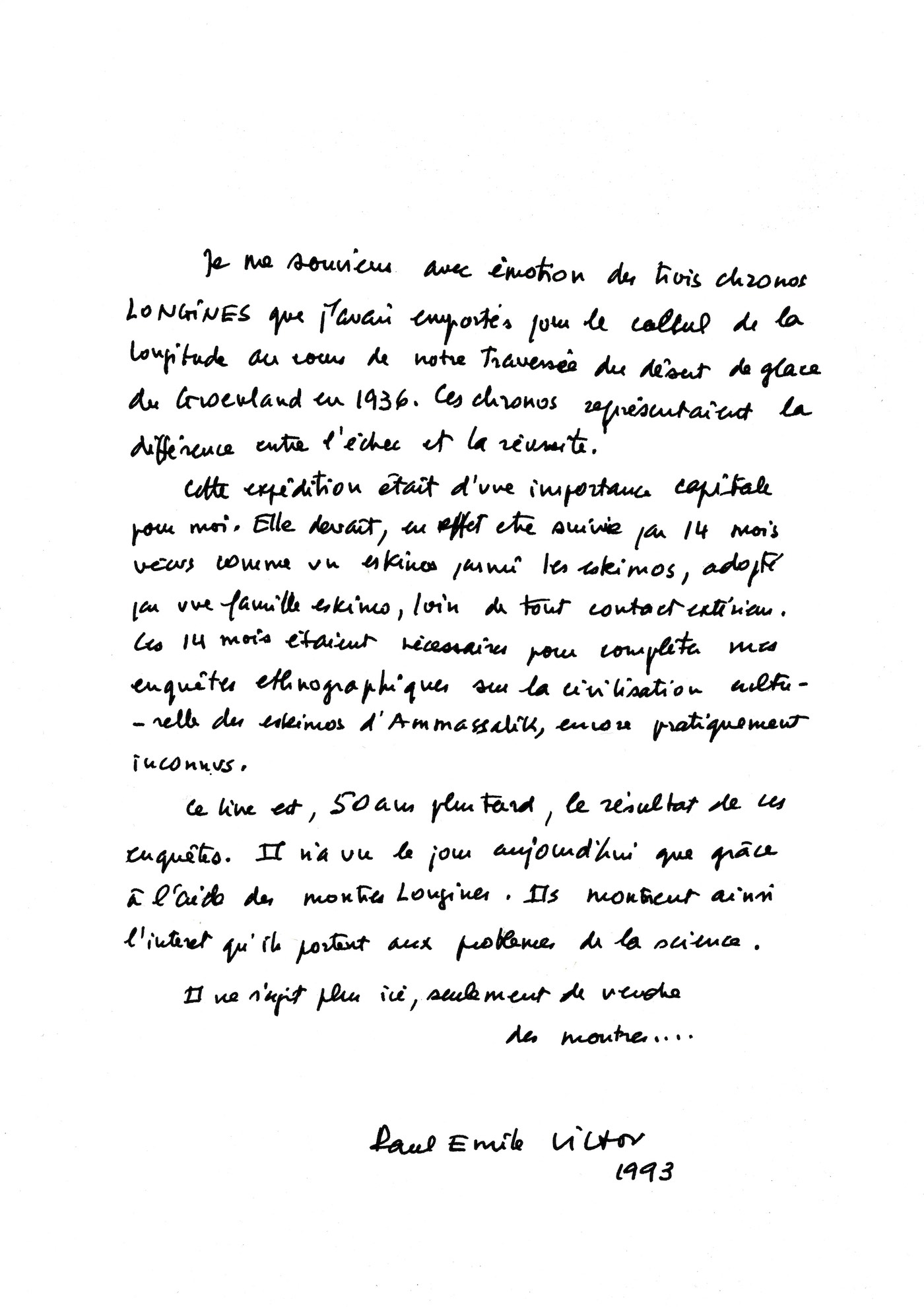 Letter from Paul-Emile Victor to Longines - longines spirit collection 2020 - 1