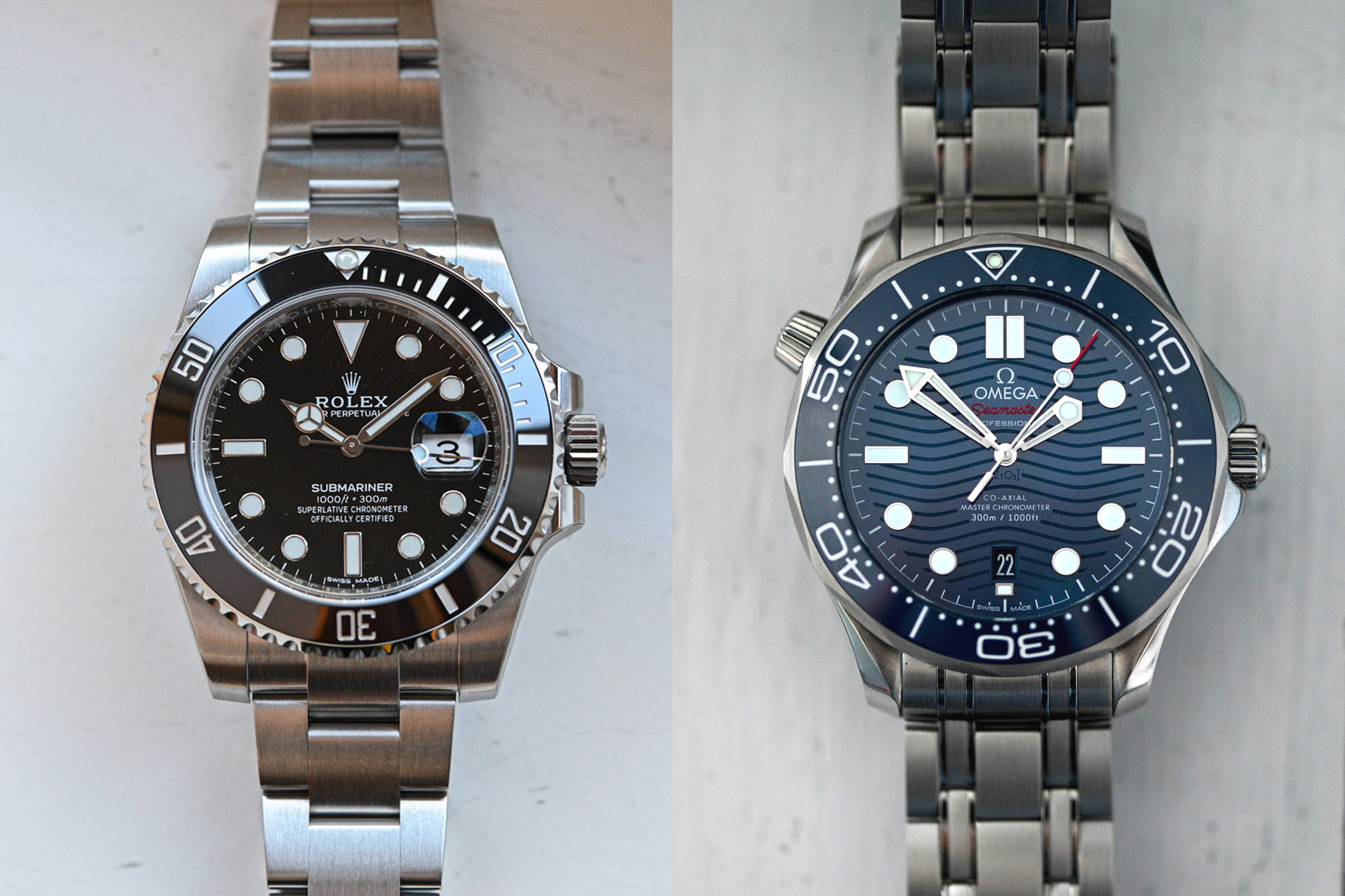 Rolex Submariner Date 116610LN vs Omega Seamaster 300m Diver comparative review