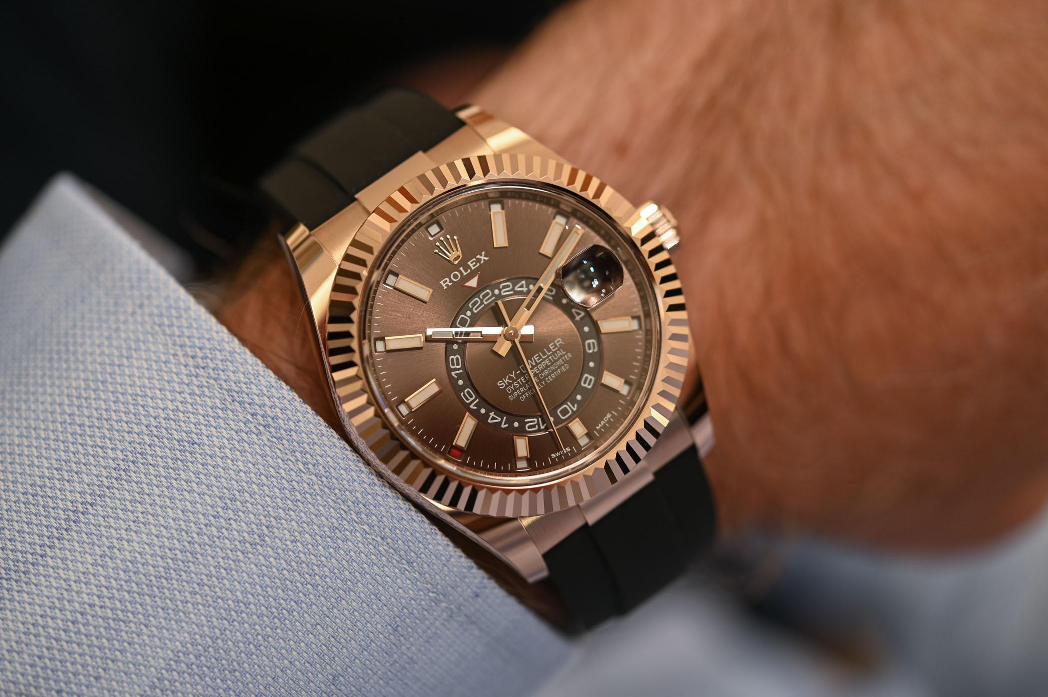 Rolex Sky-Dweller Oysterflex Bracelet Everose Gold Chocolate Dial 326235 - 2