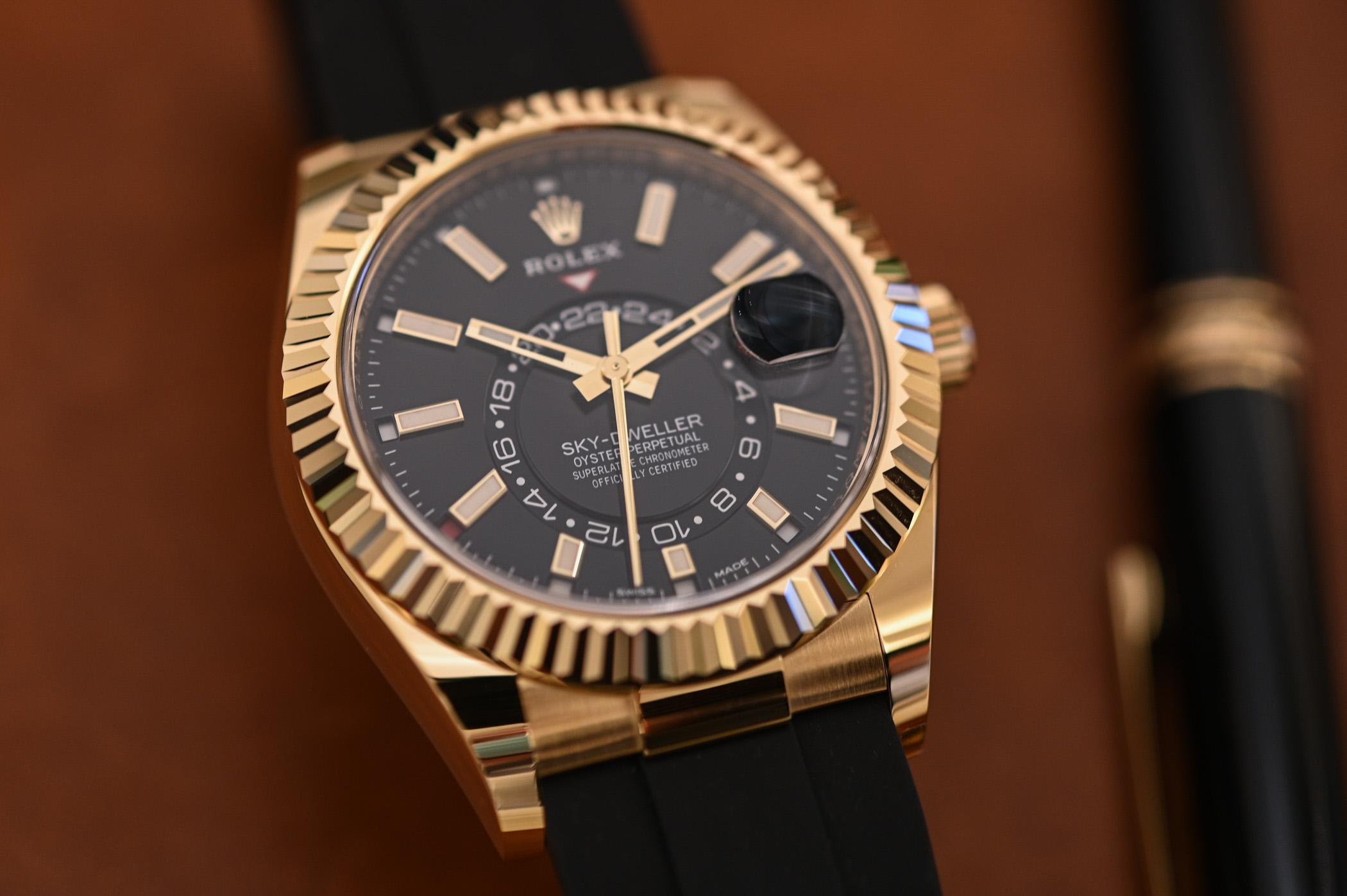 Rolex Sky-Dweller Oysterflex Bracelet Yellow Gold Black Dial 326238 - 6