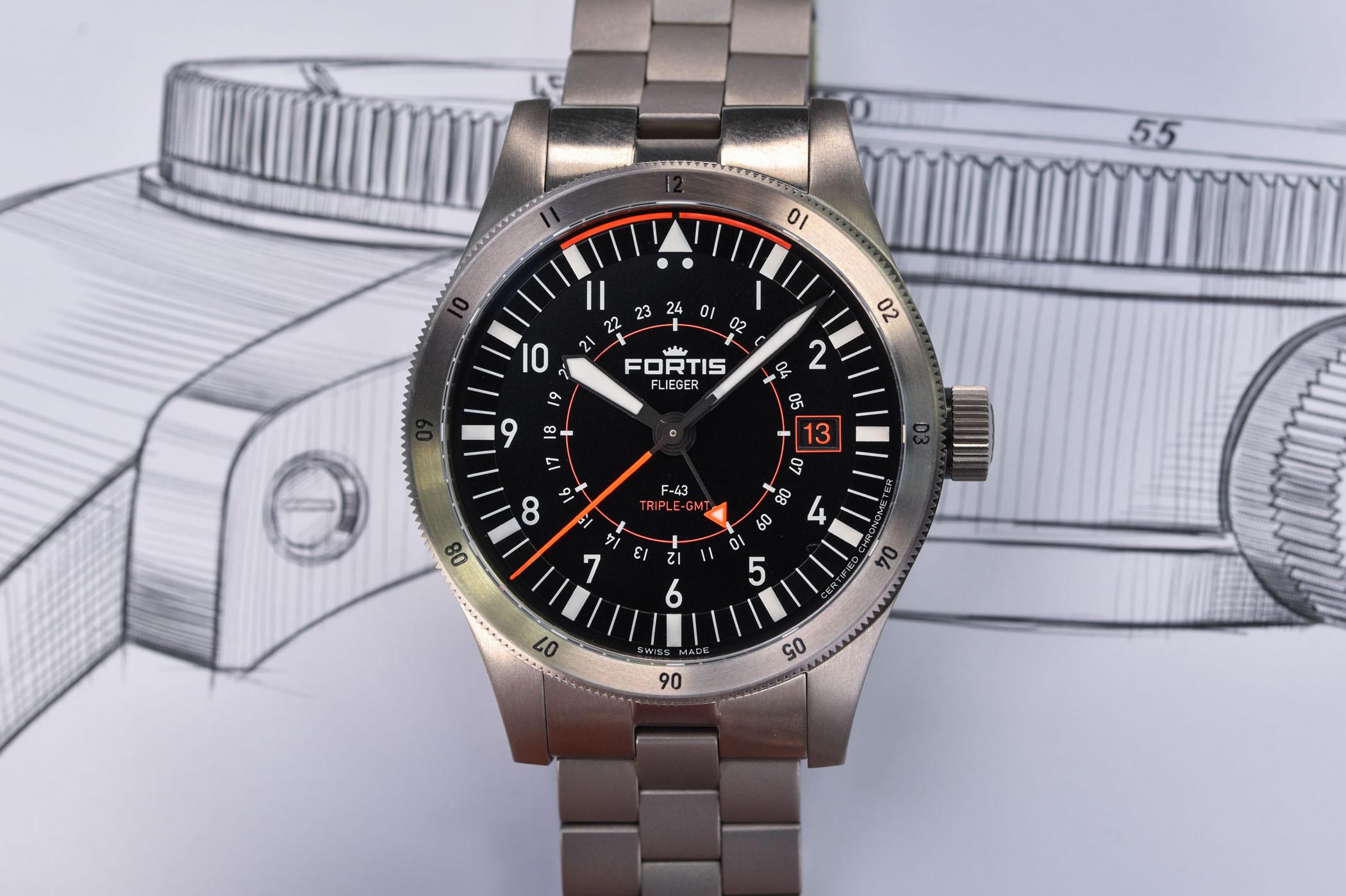 Fortis Flieger F-43 Triple GMT