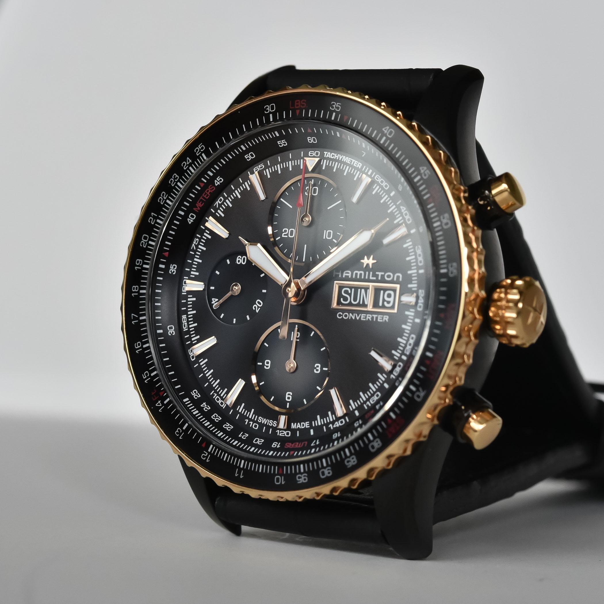 Hamilton Khaki Aviation Converter Automatic Chronograph Black and gold - H76736730 - 3