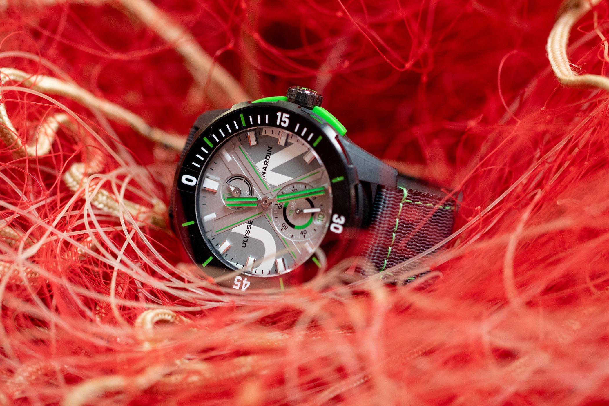 Ulysse Nardin DIVER NET concept recycled fishing nets PET watch