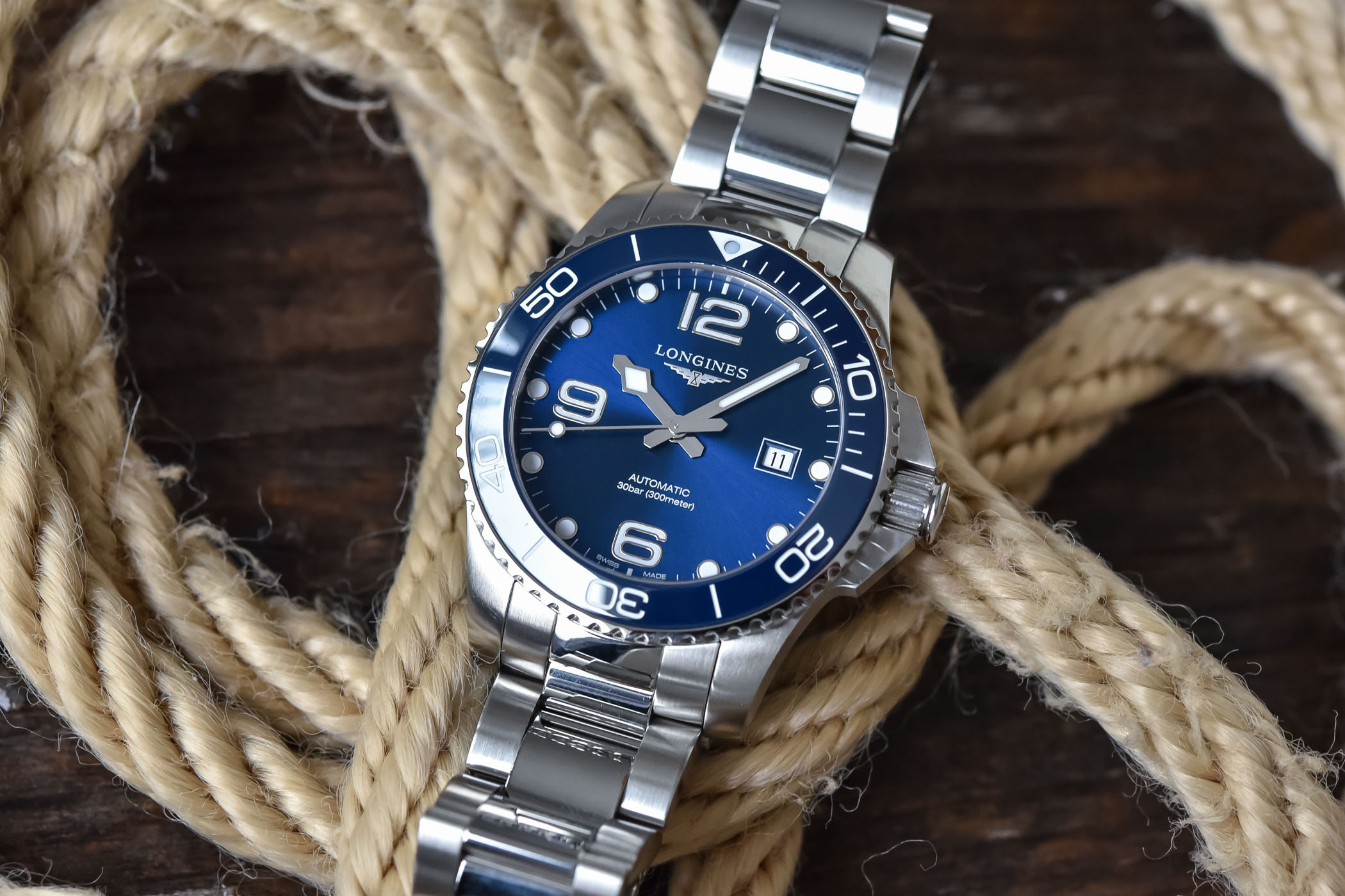 Longines HydroConquest 43mm blue dial ceramic bezel - L3.782.4.96.6