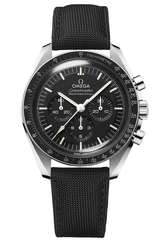 2021 Omega Speedmaster Moonwatch Professional Master Chronometer Hesalite textile strap