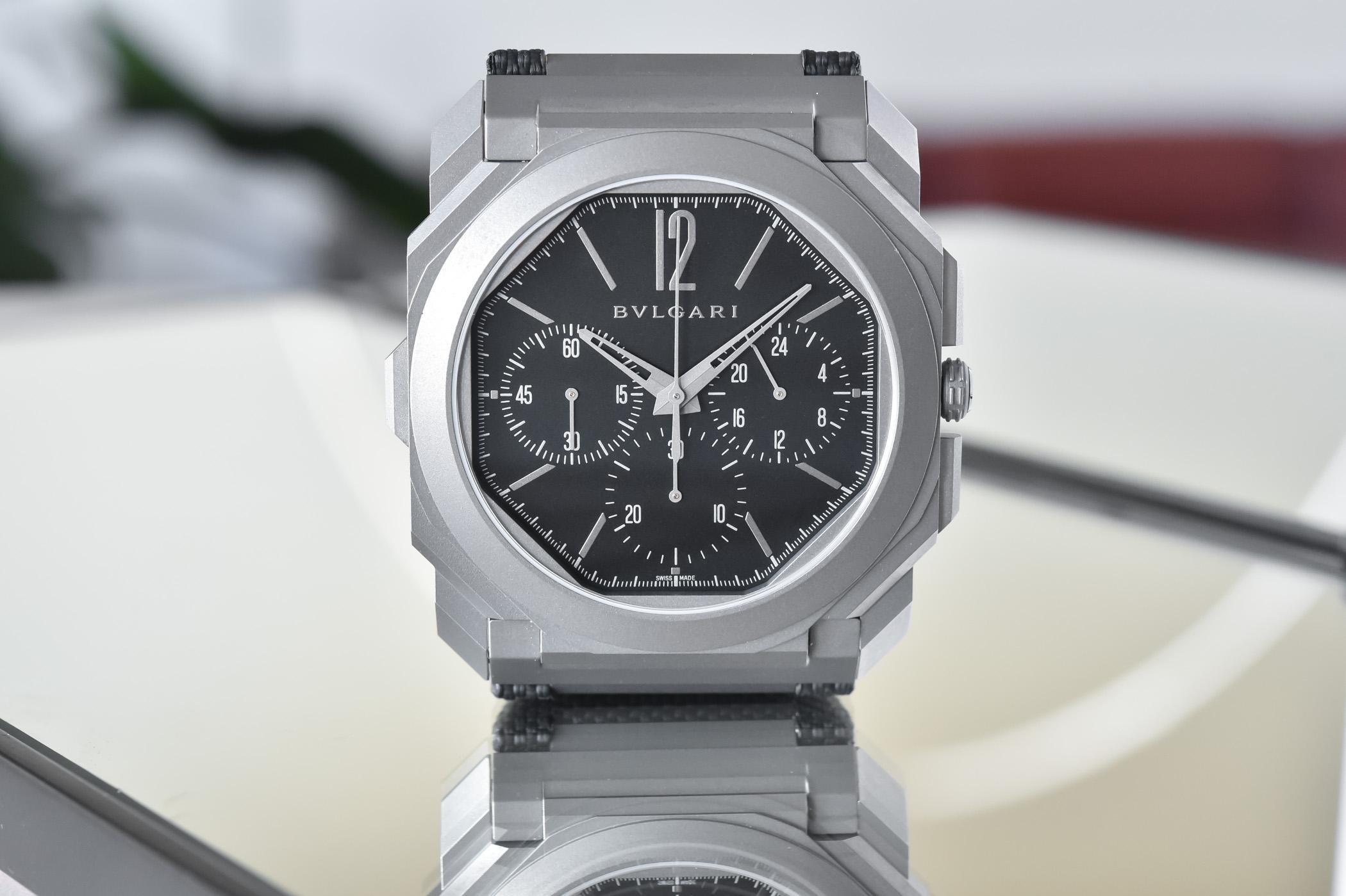 Bvlgari Octo Finissimo Chronograph GMT Titanium Black Dial Rubber strap