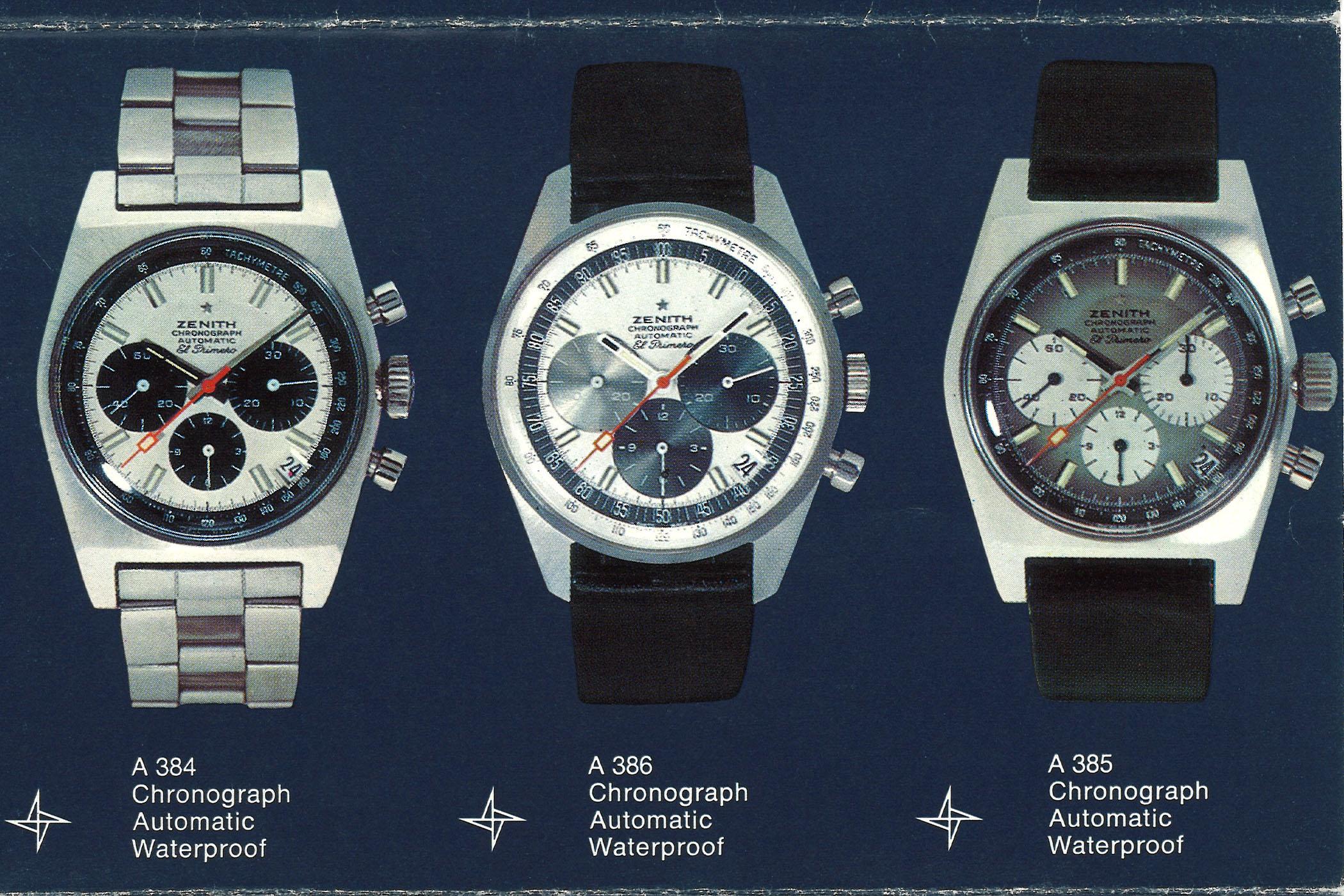 Zenith El Primero 1969 trilogy A384 A385 A386 watches