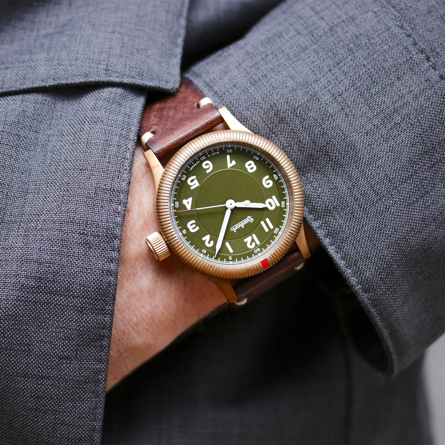 Hanhart Pioneer One Bronze Limited Edition Green Dial
