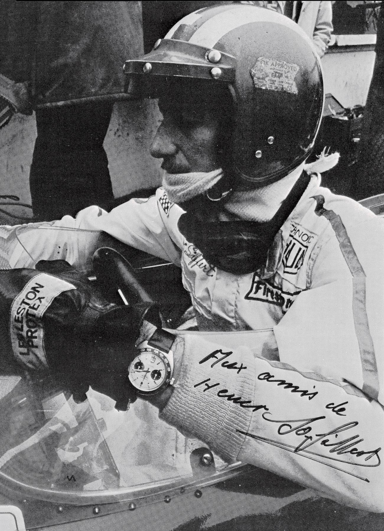Jo Siffert wearing Heuer Autavia