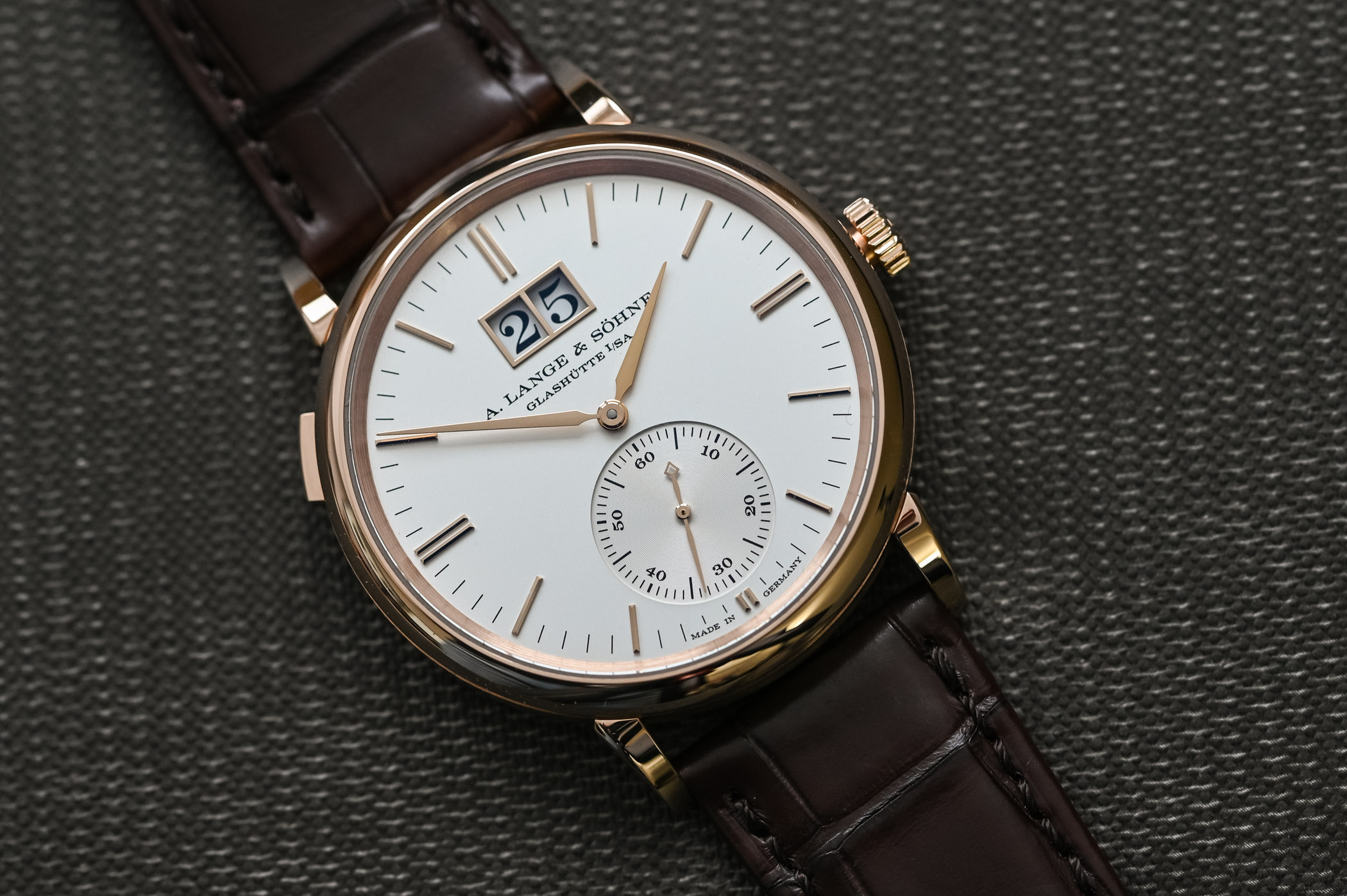 A. Lange & Söhne Saxonia Outsize Date Pink Gold Silver Dial 381.032