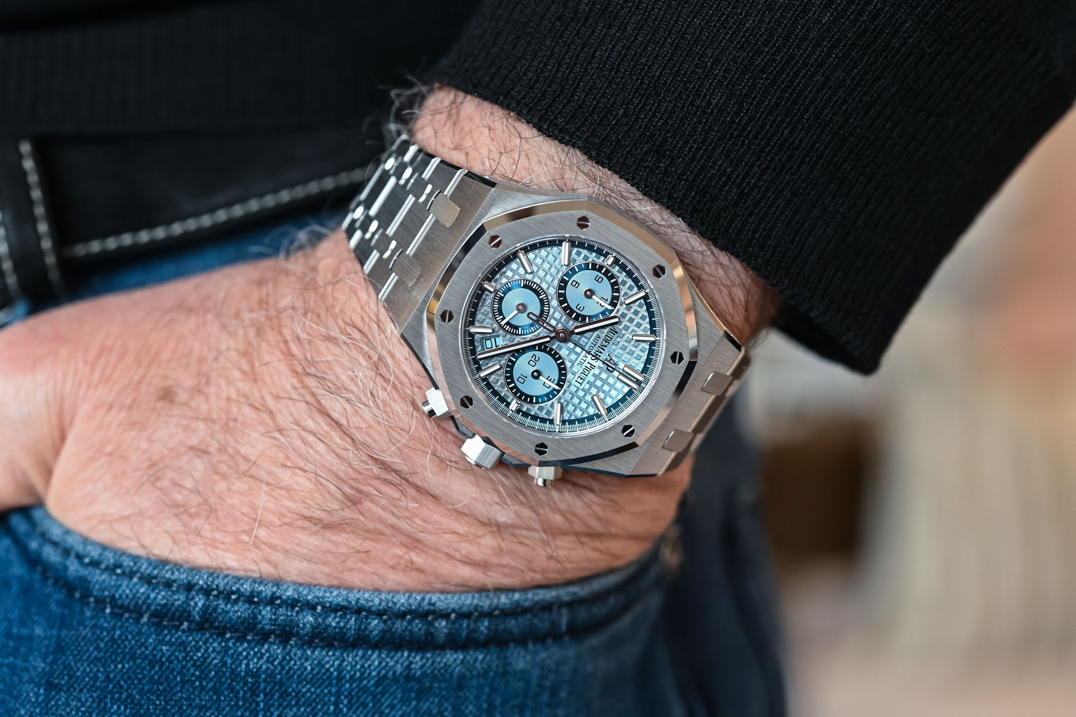 Audemars Piguet Royal Oak Selfwinding Chronograph 38mm Ice Blue Dial White Gold Limited Edition - 26317BC