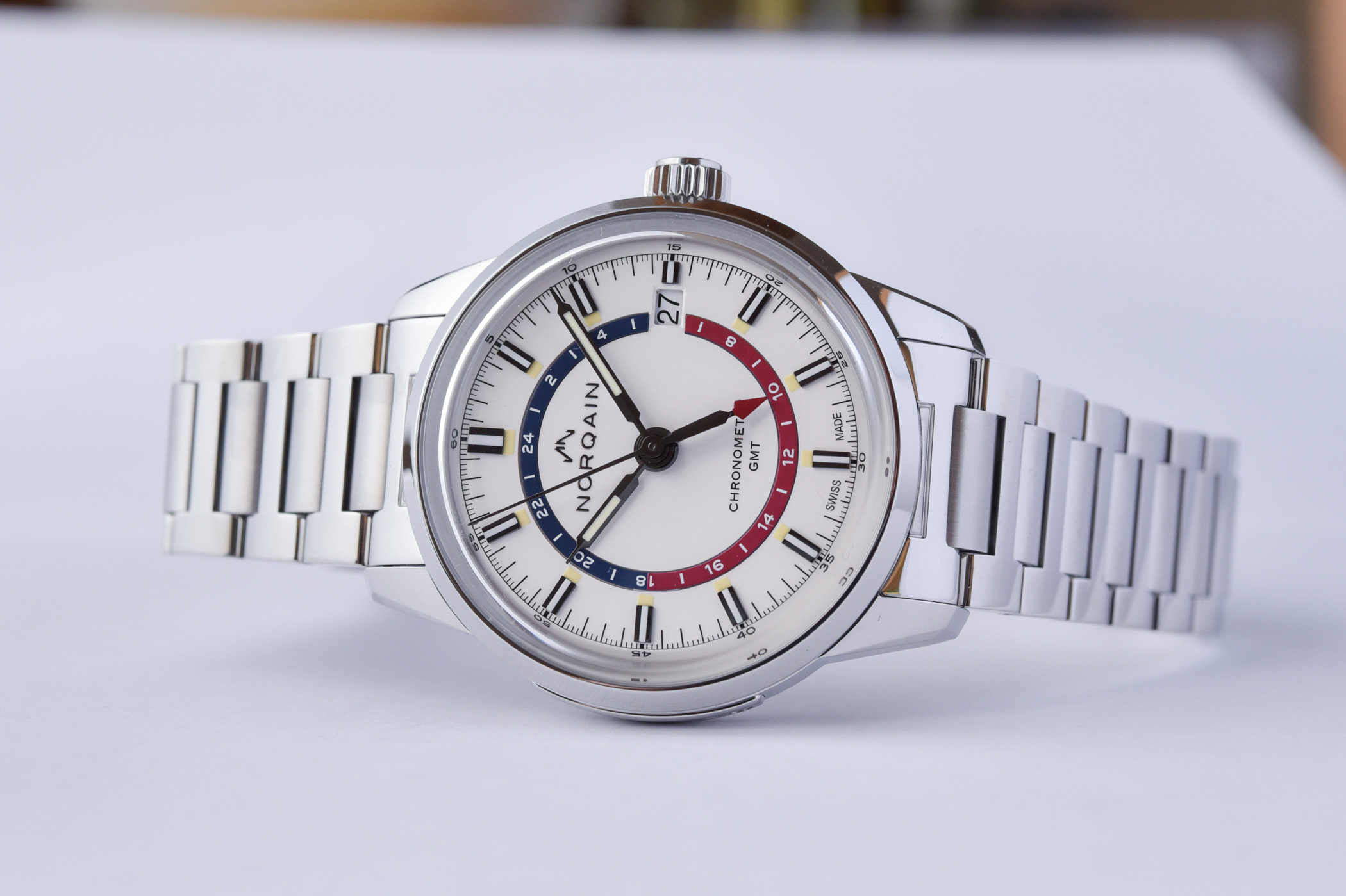 Norqain Freedom 60 GMT Steel white pepsi dial