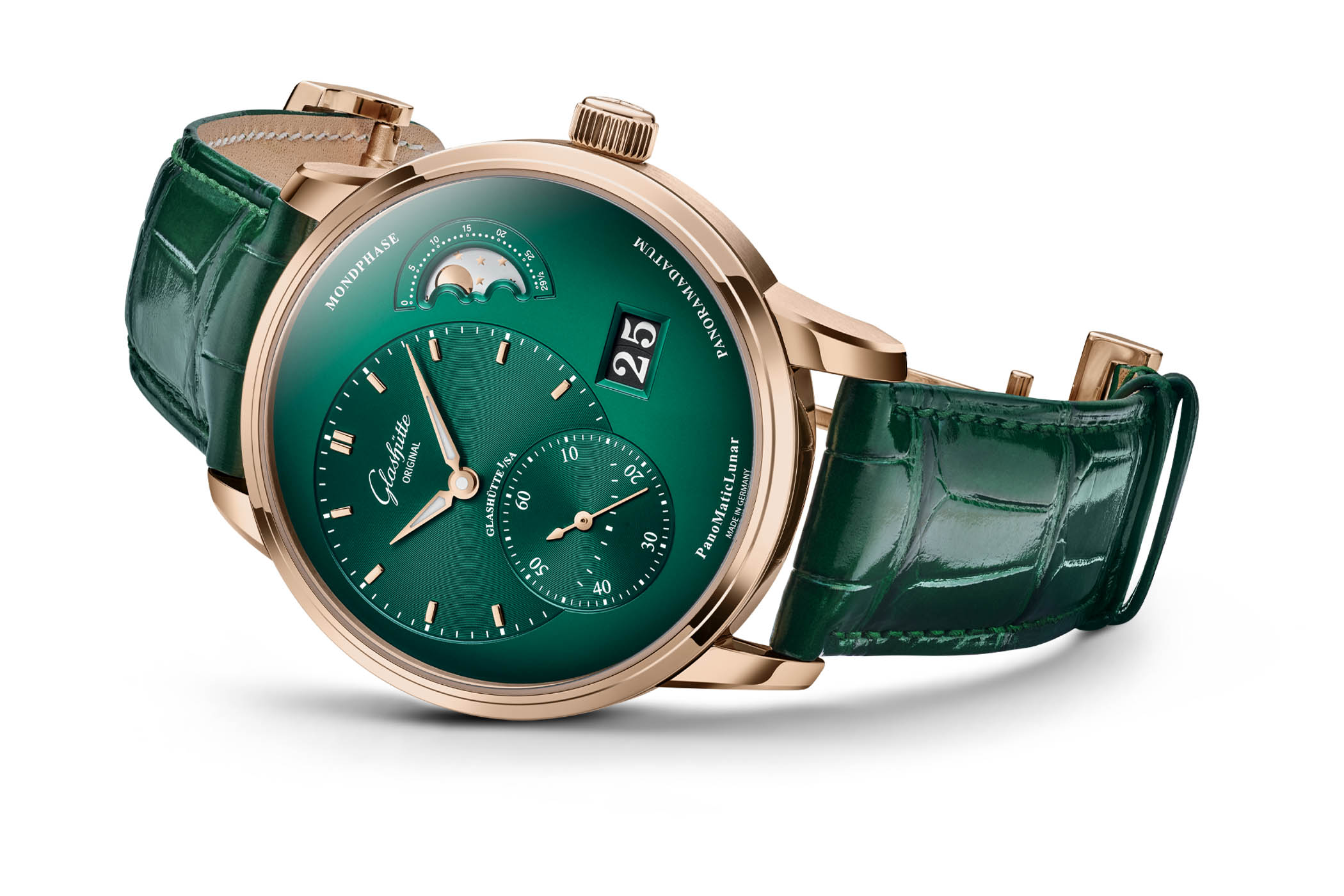 Glashutte Original PanoMaticLunar Red Gold and Green Dial