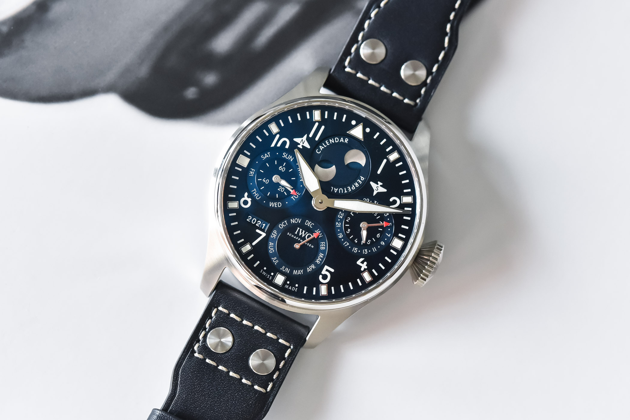 IWC Big Pilots Watch Perpetual Calendar Steel Blue Dial IW503605