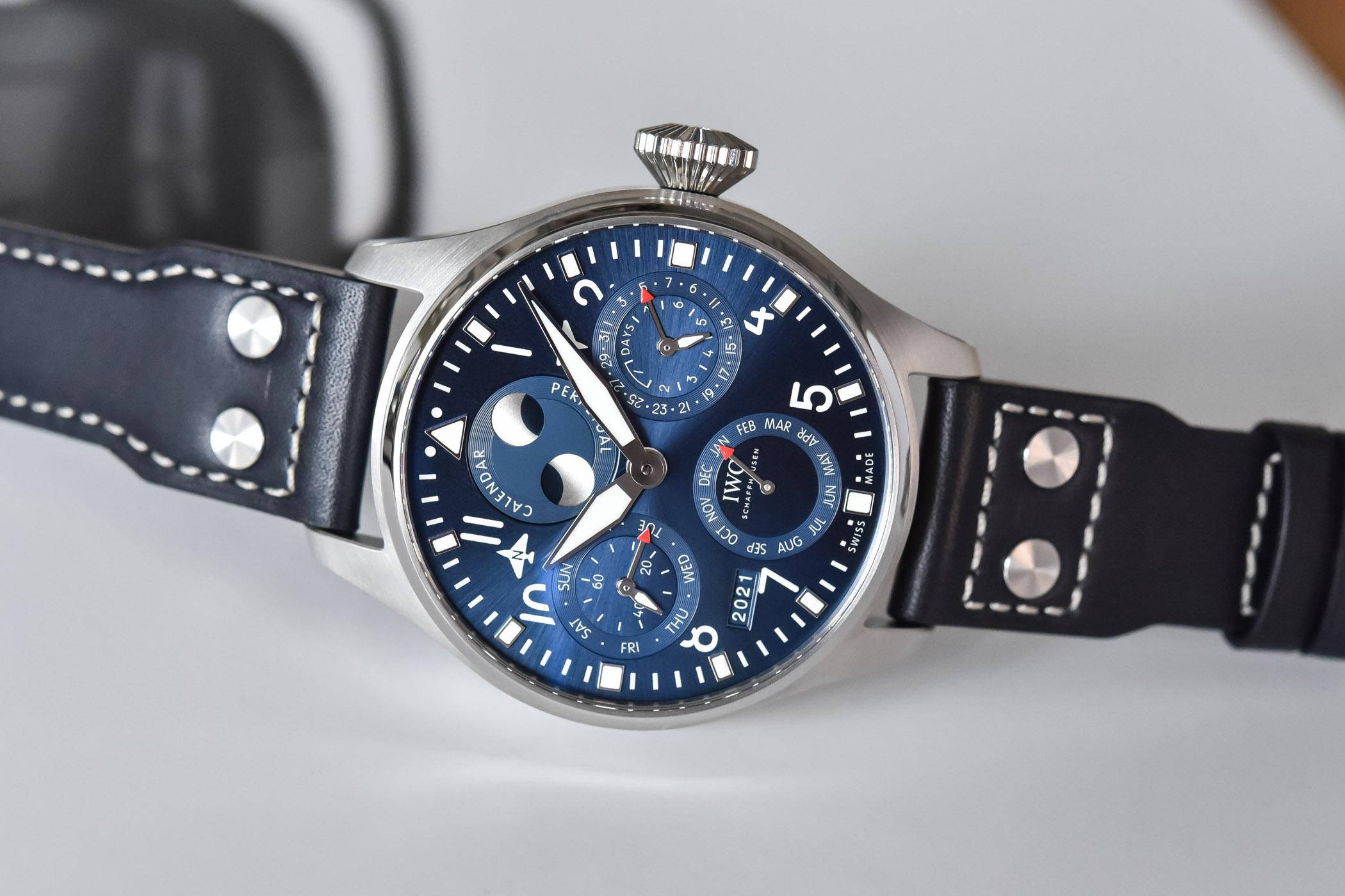 IWC Big Pilots Watch Perpetual Calendar Steel Blue Dial IW503605
