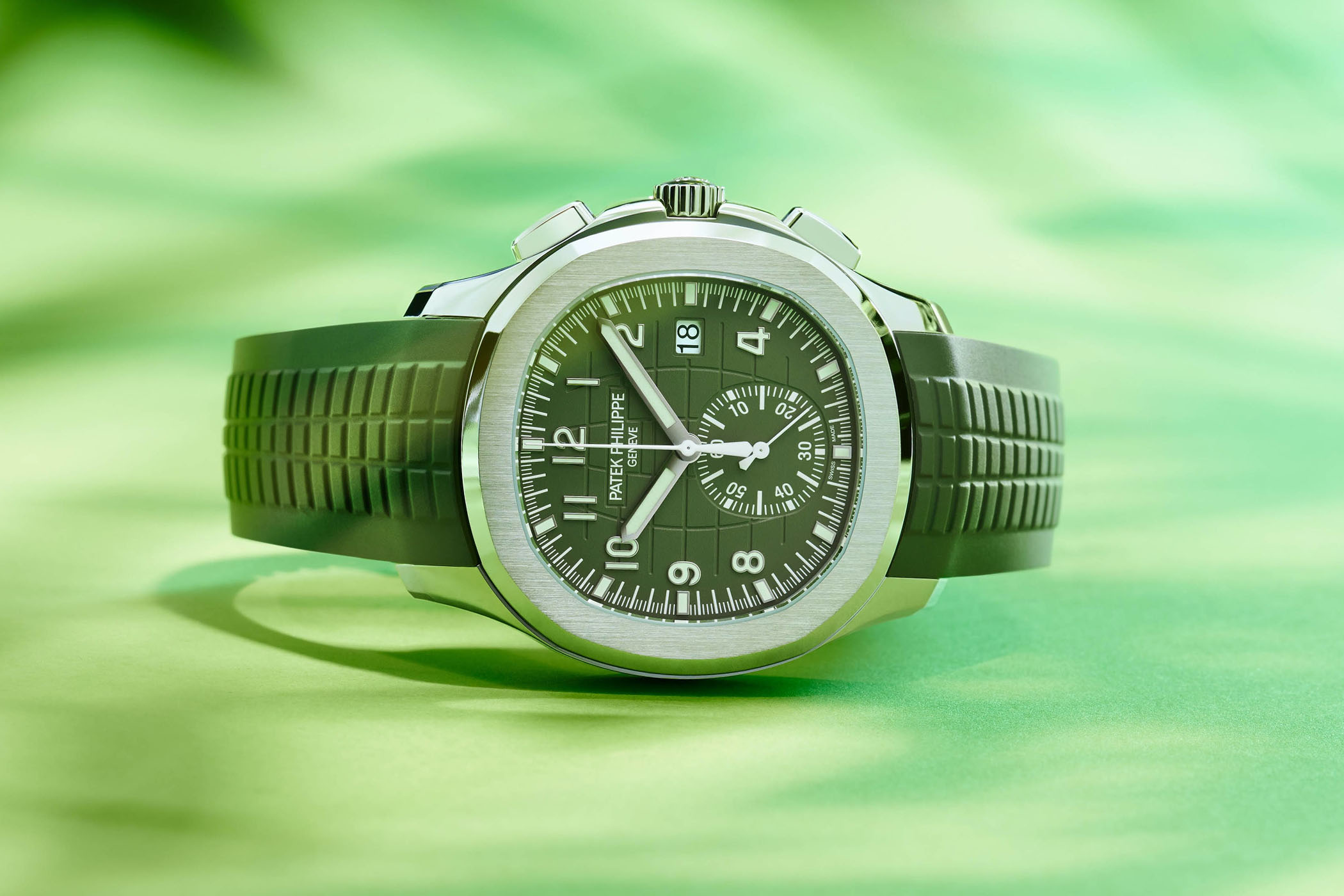2021 Patek Philippe Aquanaut Chronograph 5968G-010 White gold khaki green dial