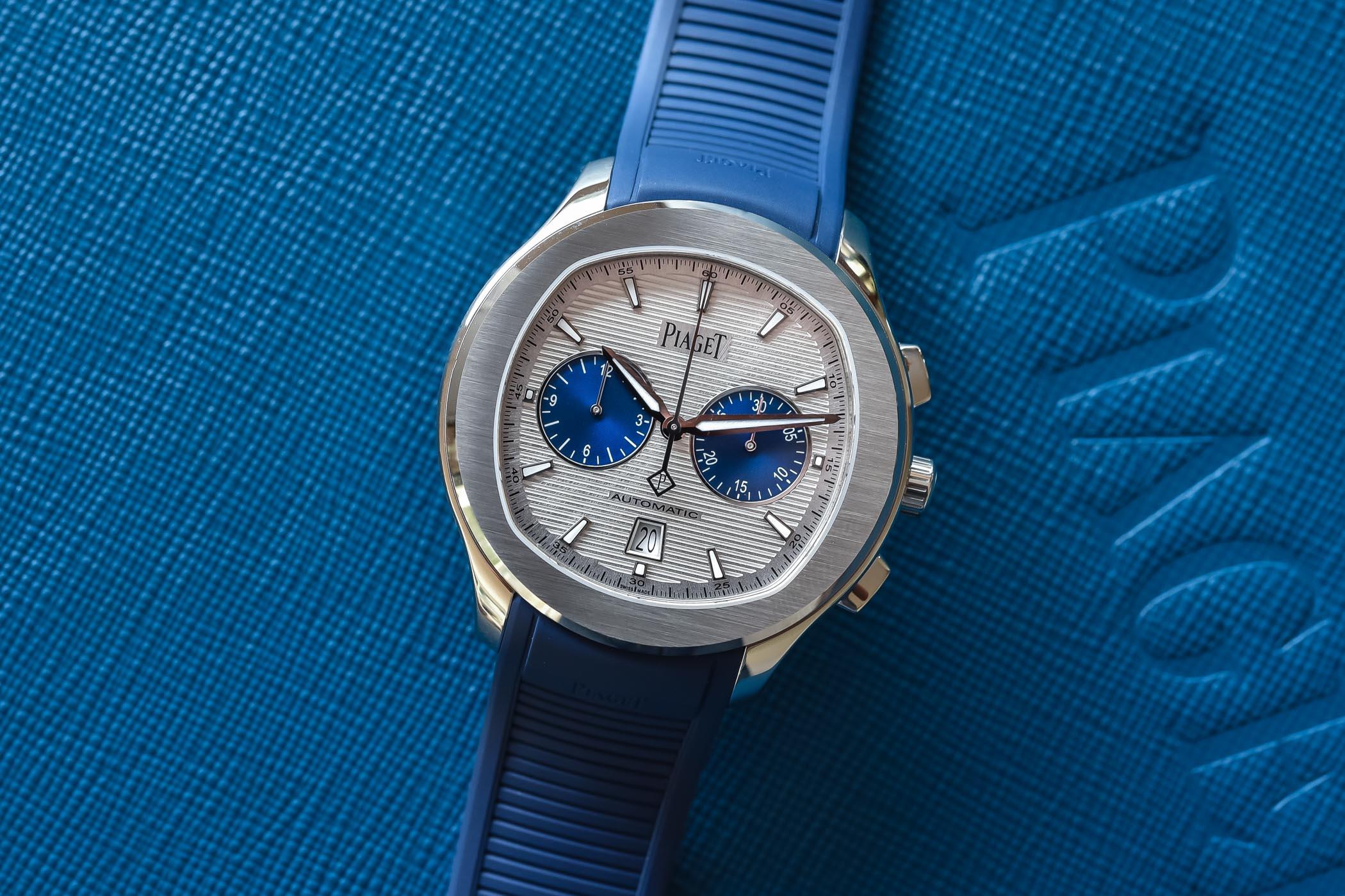 Piaget Polo Blue Panda Automatic Chronograph 42mm Rubber Strap G0A46013