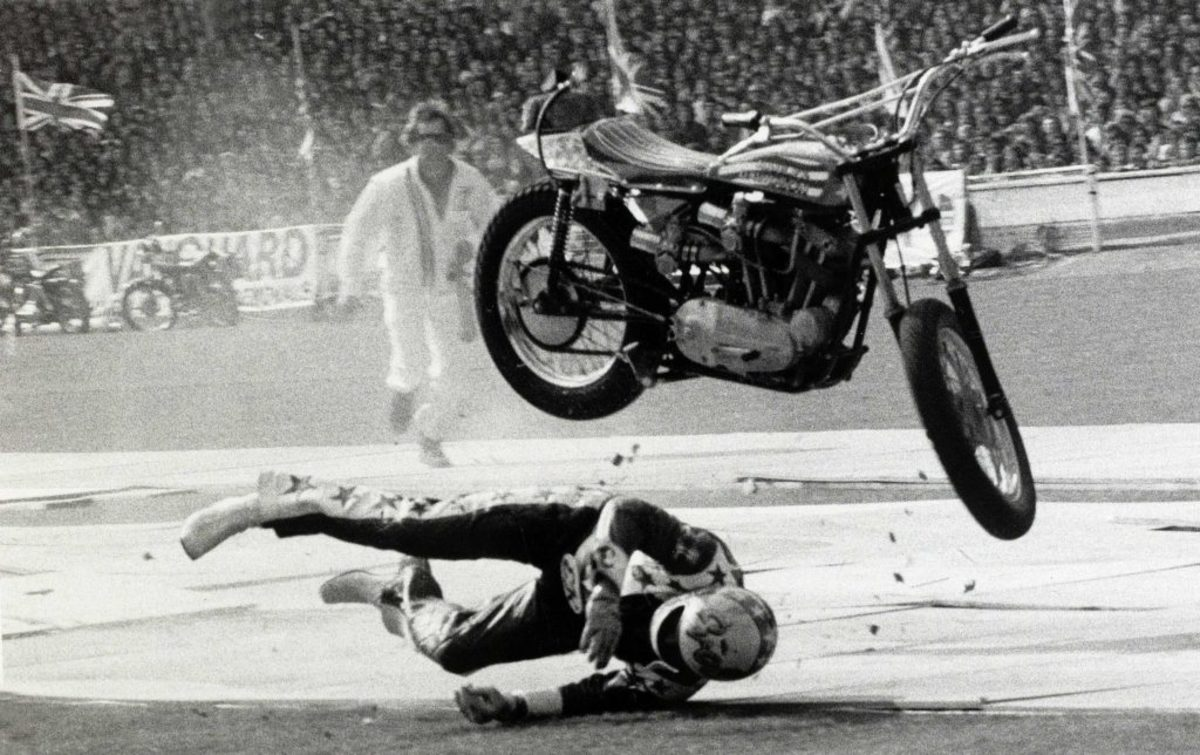 Knievel crashed often at a great physical cost - Source: History.com