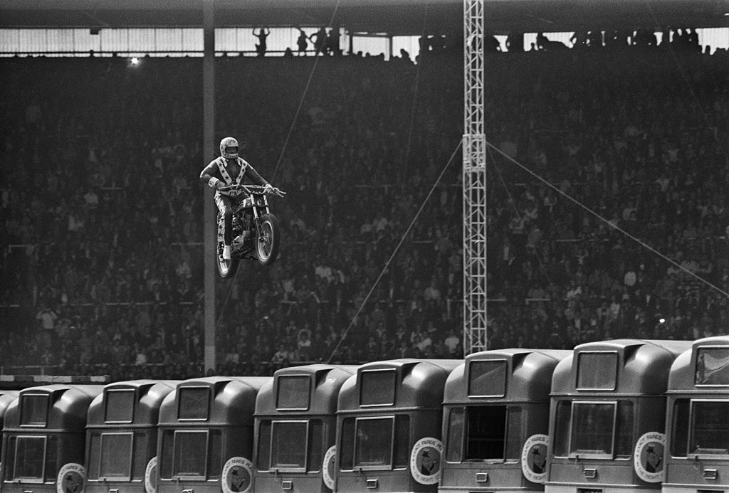 Knievel jumping over stacked buses - Source: NY Times